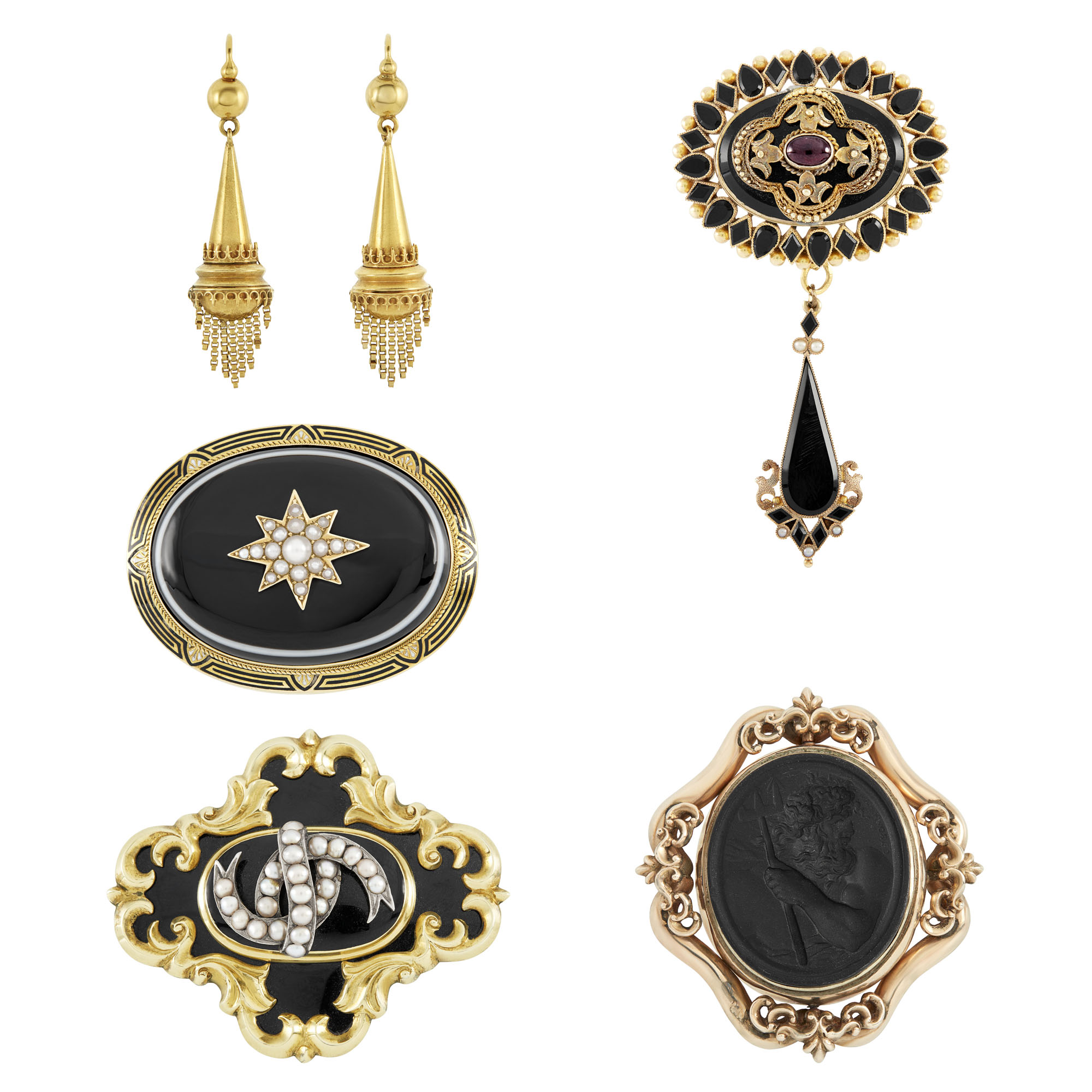 Lot image - Pair of Antique Gold and Gem-Set Earrings and Four Brooches