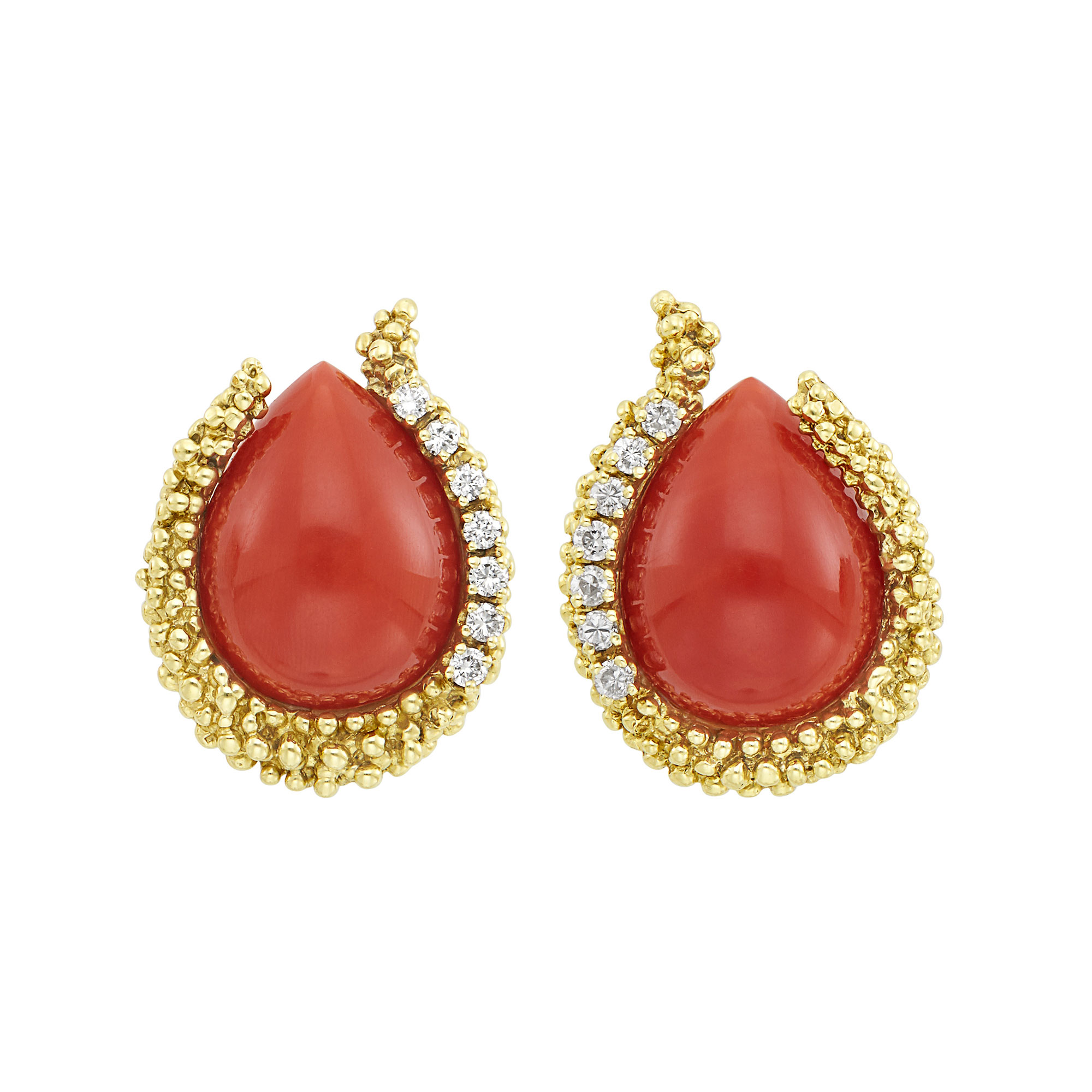 Lot image - Pair of Gold, Coral and Diamond Earrings