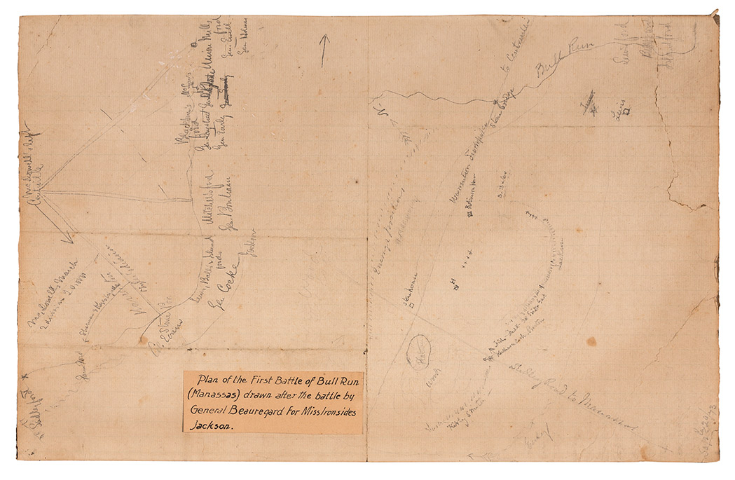 Lot image - [CIVIL WAR - BEAUREGARD, PIERRE GUSTAVE TOUTANT, CONFEDERATE MAJOR GENERAL]  Manuscript plan of the First Battle of Bull Run reportedly in the hand of Beauregard