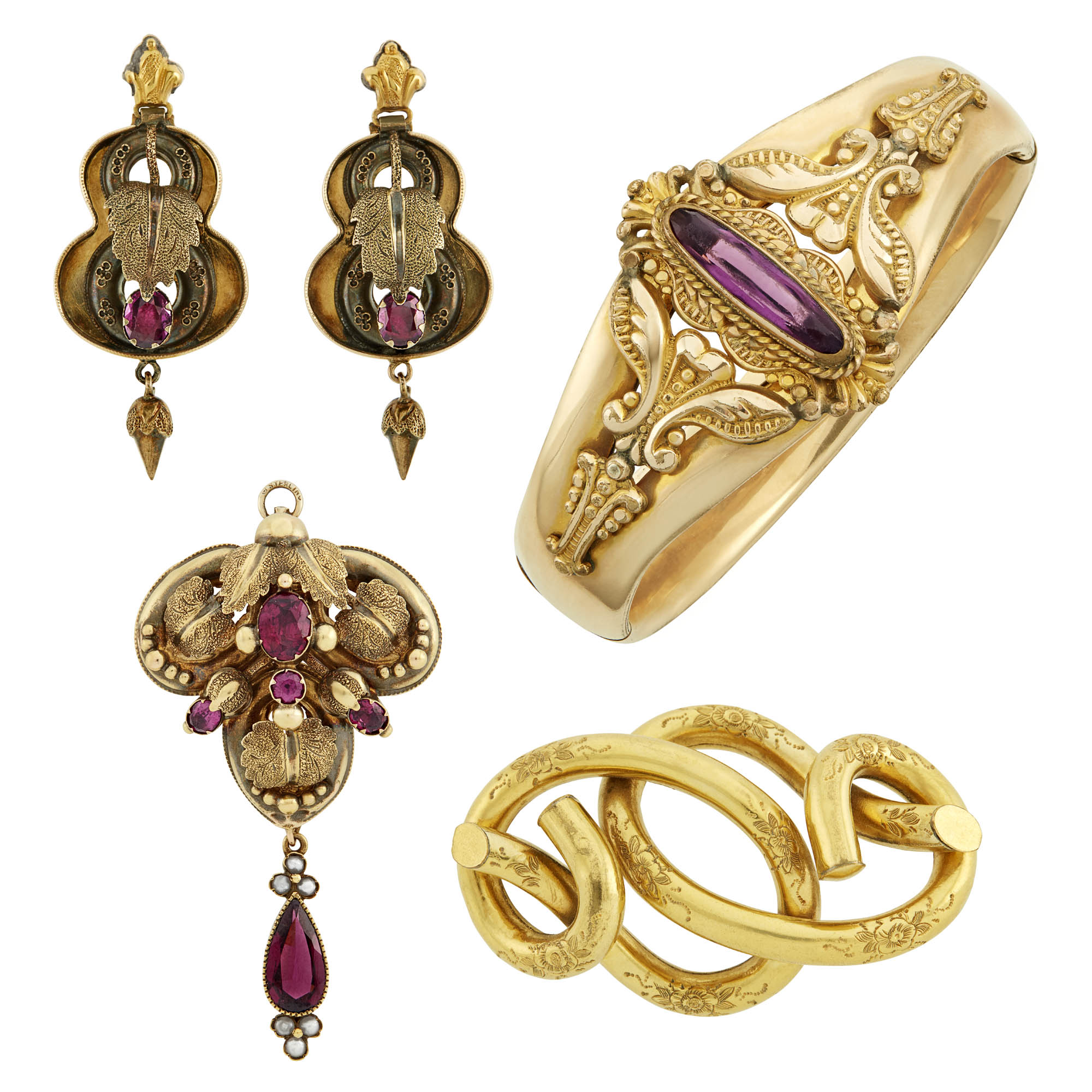 Lot image - Antique Gold, Gold-Plated and Gem-Set Jewelry