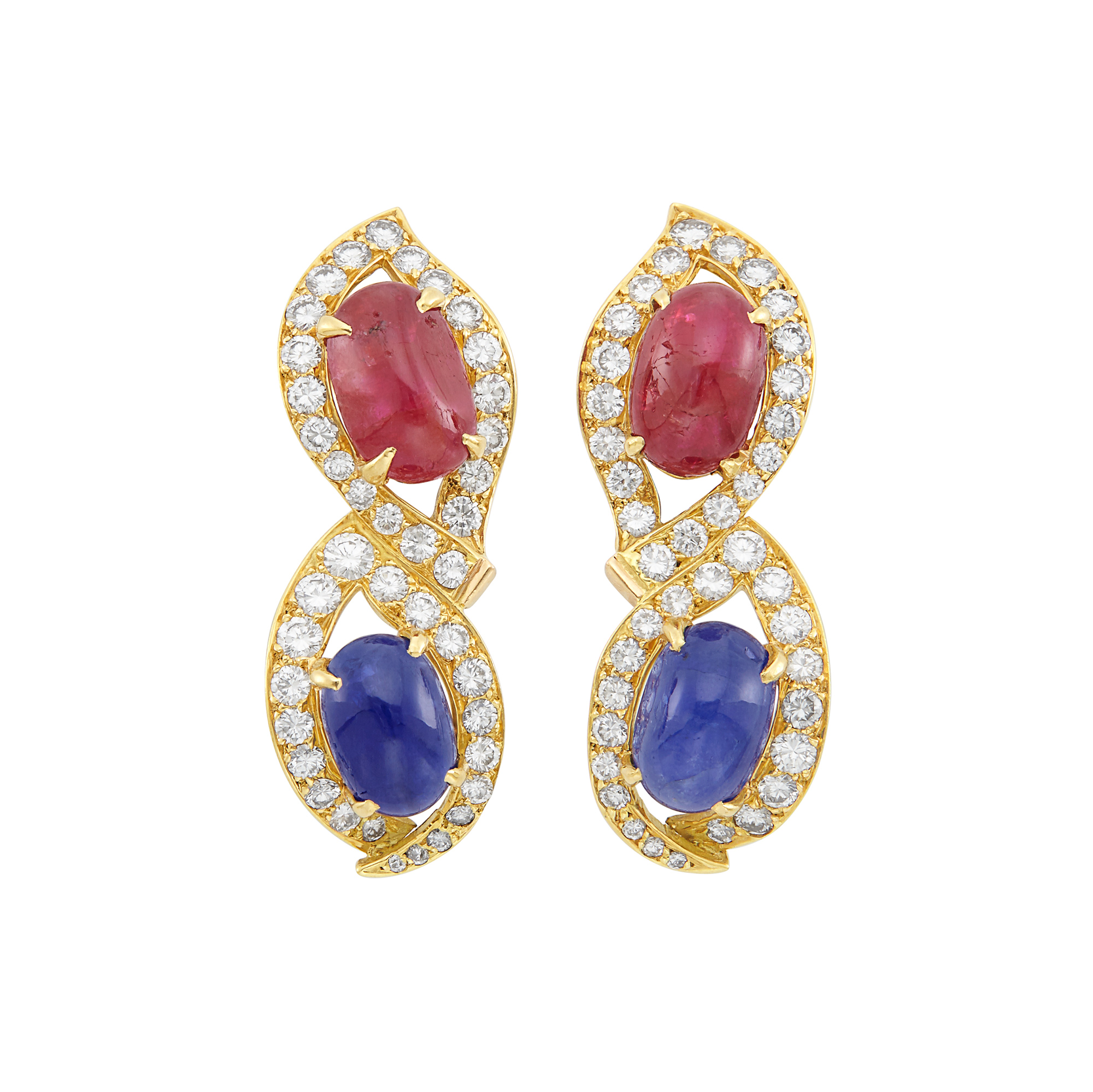 Lot image - Pair of Gold, Cabochon Sapphire, Ruby and Diamond Earclips