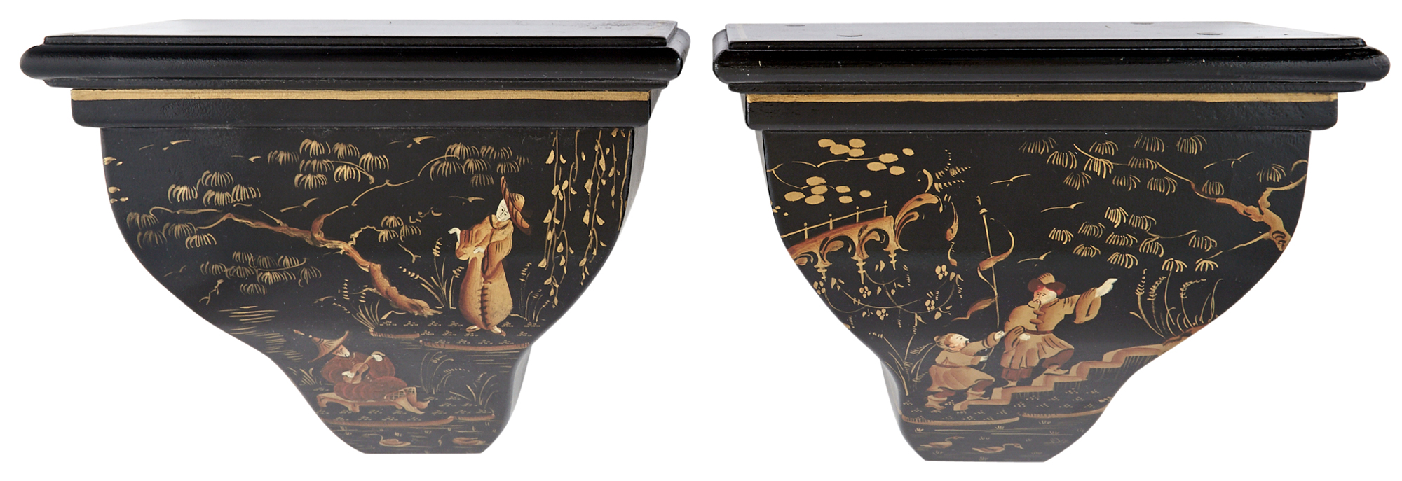 Lot image - Pair of Black Painted Chinoiserie Decorated Wall Brackets