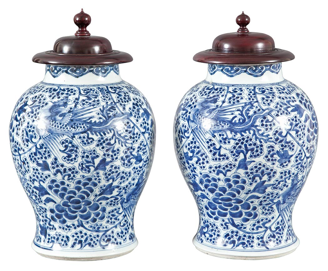 Lot image - Pair of Chinese Blue and White Porcelain Jars