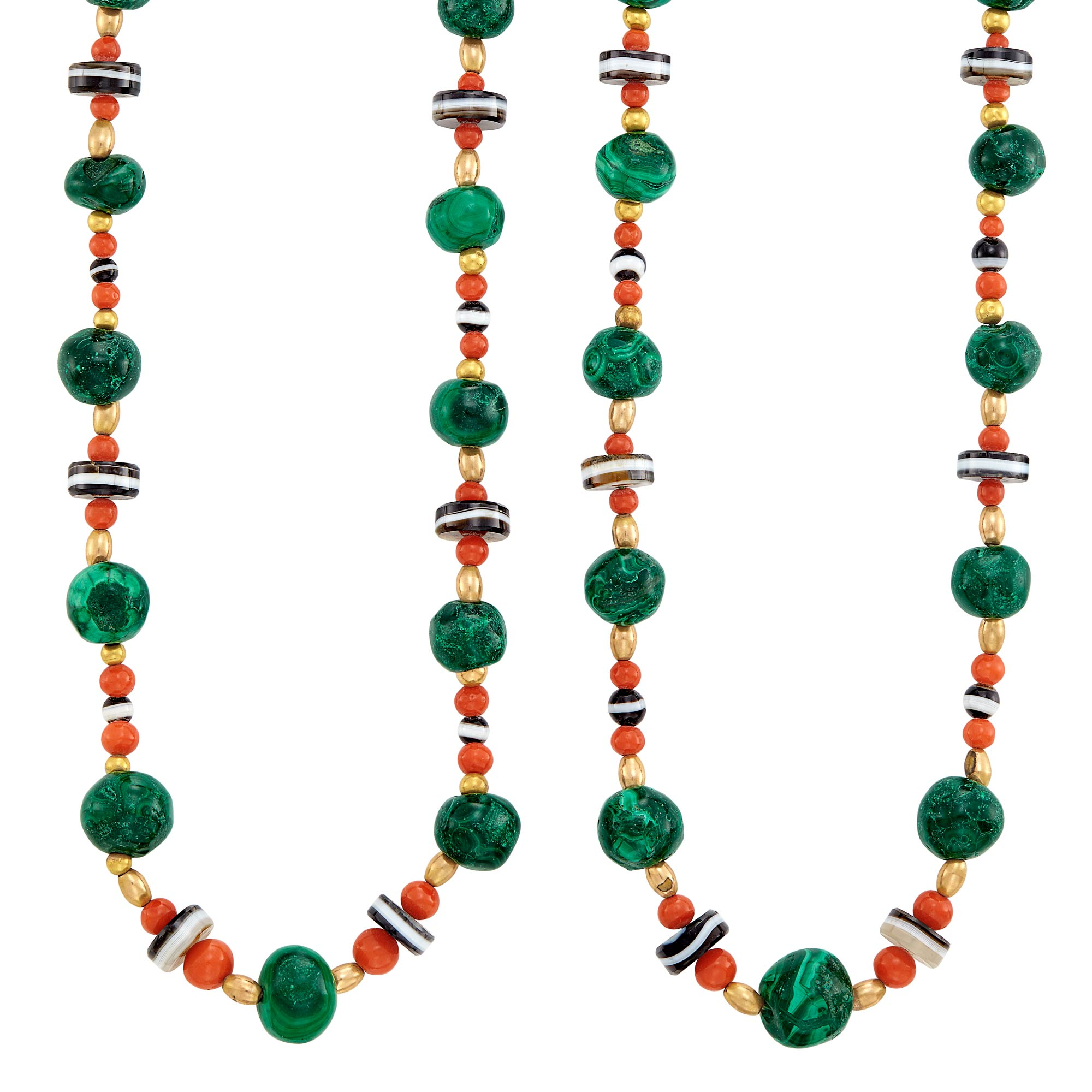 Lot image - Pair of Gold, Malachite, Coral, Banded Agate and Gold Bead Necklaces