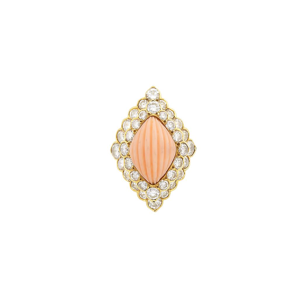 Lot image - Gold, Carved Angel Skin Coral and Diamond Ring, Boucheron, France