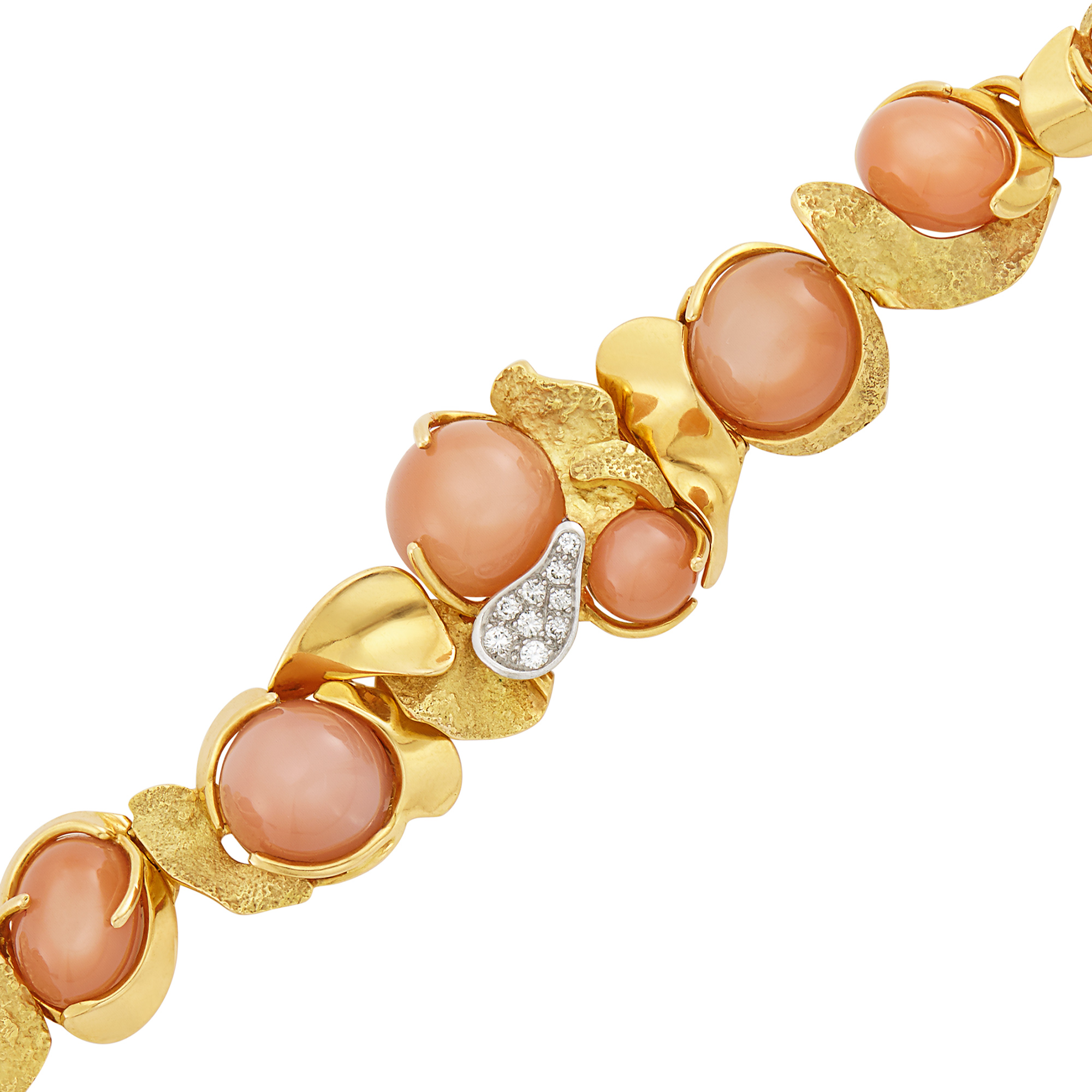 Lot image - Gold, Peach Moonstone and Diamond Bracelet, Julia Plana
