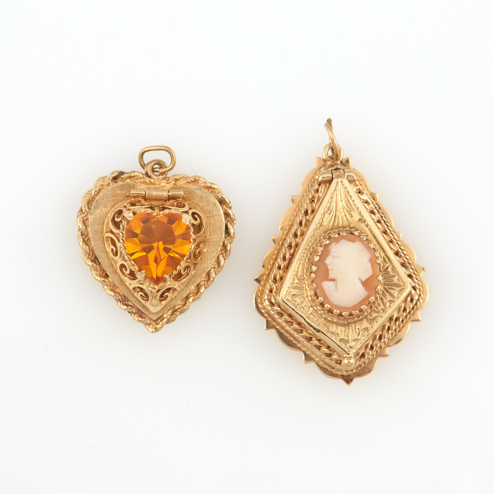 Lot image - Two Gold and Stone Pendants, 14K 11 dwt. all