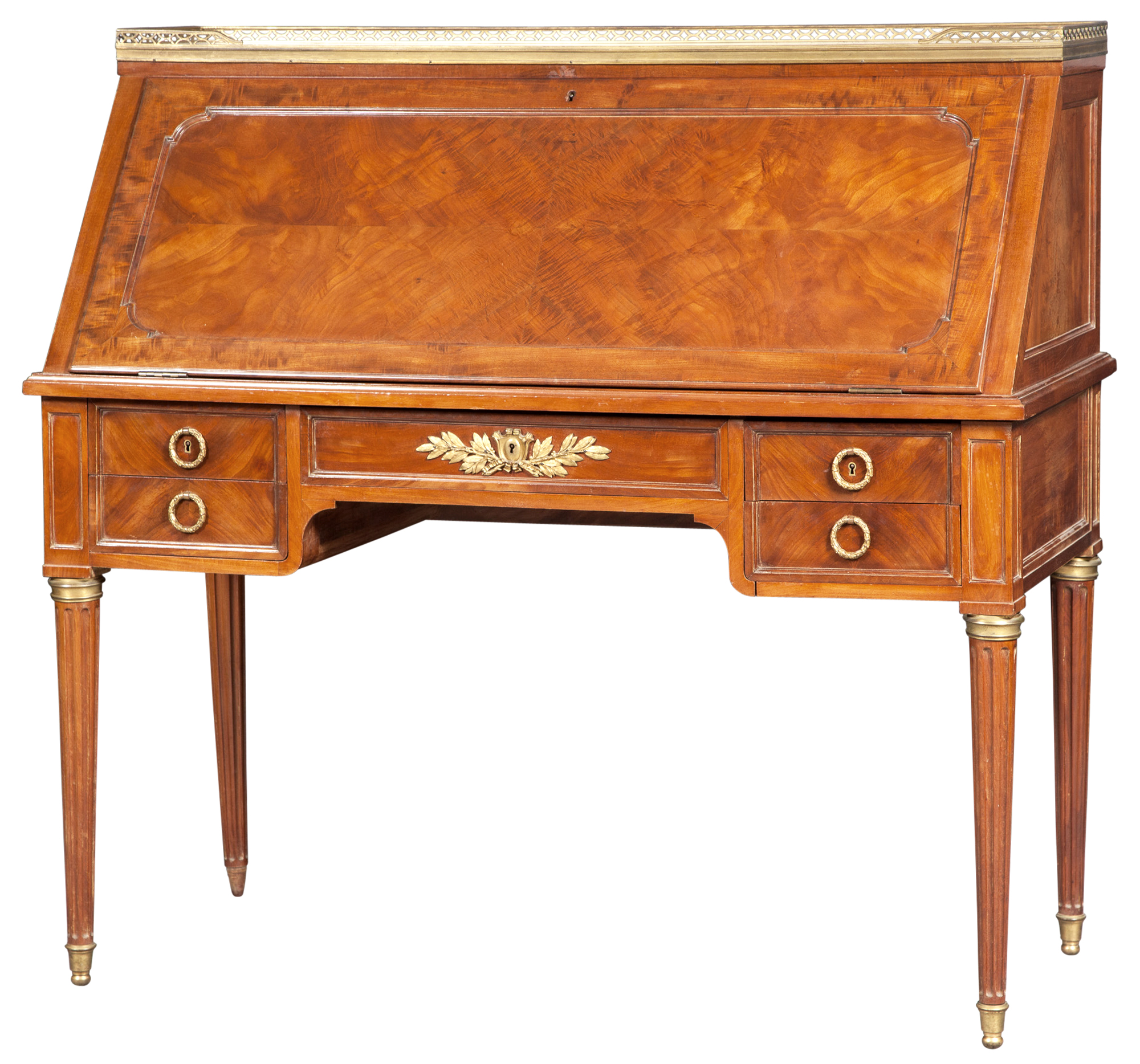 Lot image - Louis XVI Style Brass-Mounted Mahogany Slant-Front Bureau by Paul Sormani