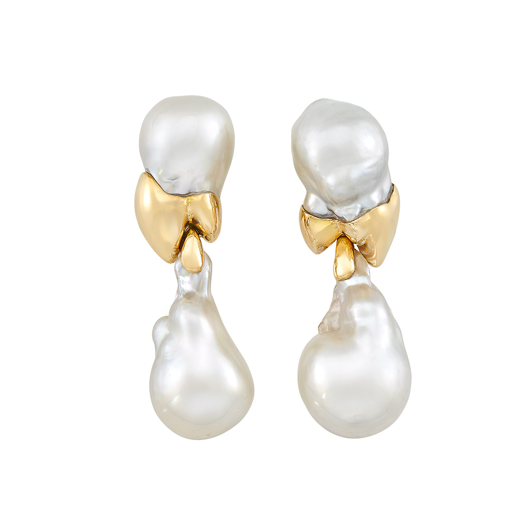 Lot image - Pair of Gold and South Sea Baroque Cultured Pearl Pendant-Earclips