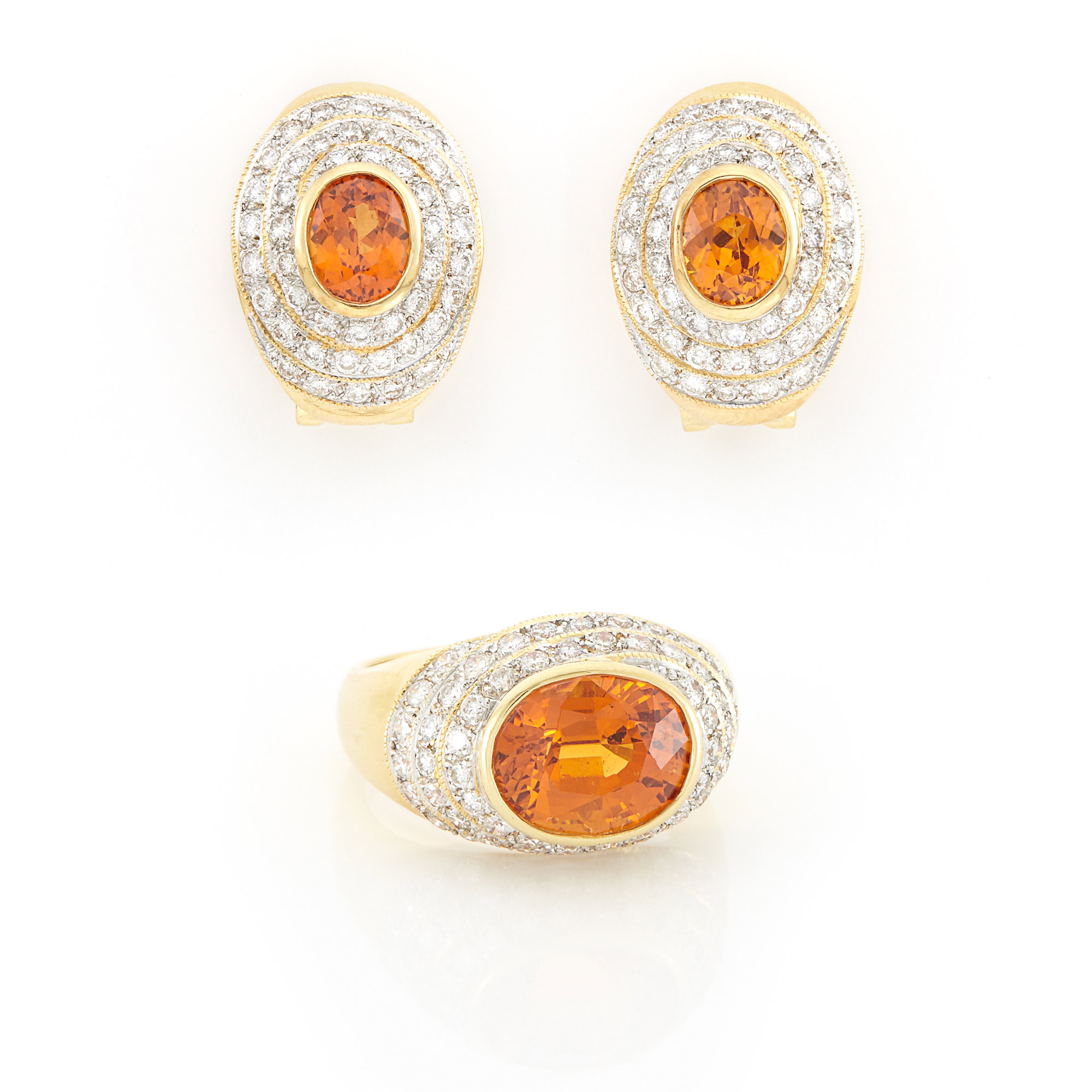 Lot image - Pair of Gold, Spessartite Garnet and Diamond Earrings and Ring
