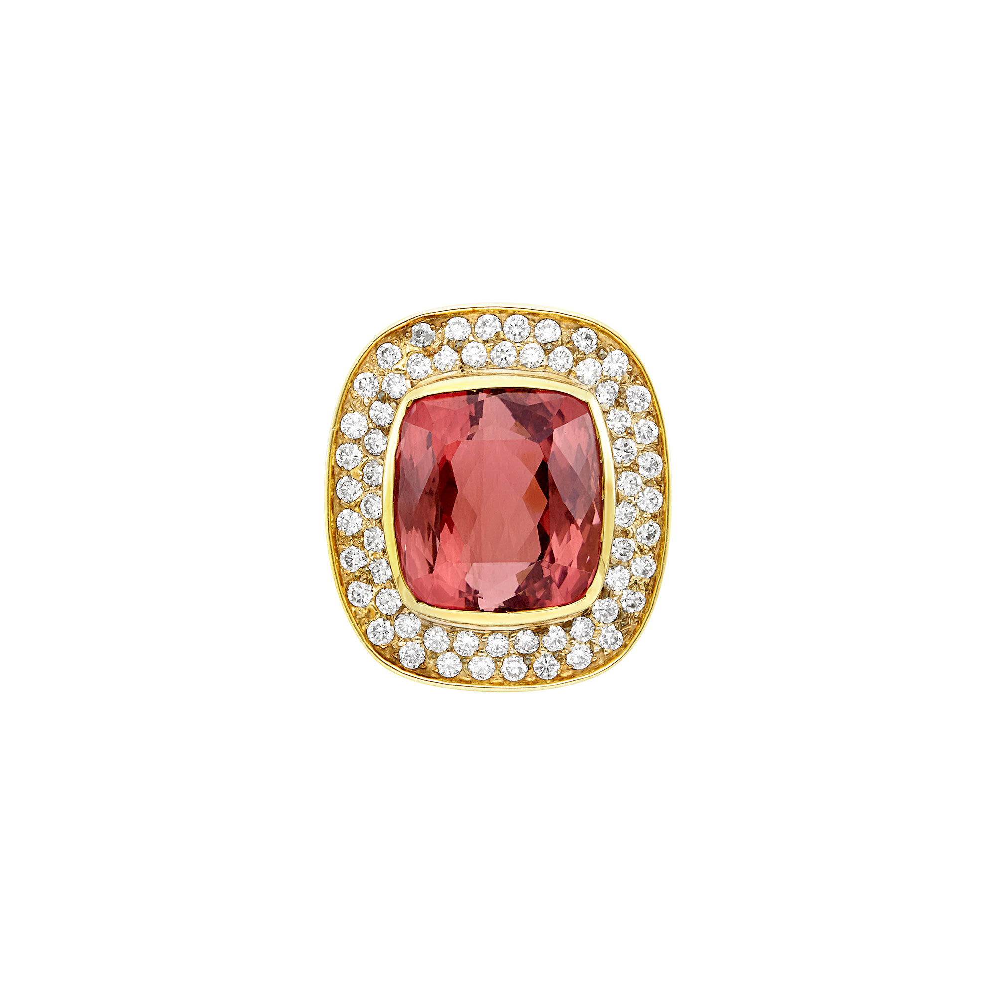 Lot image - Gold, Pink Tourmaline and Diamond Ring