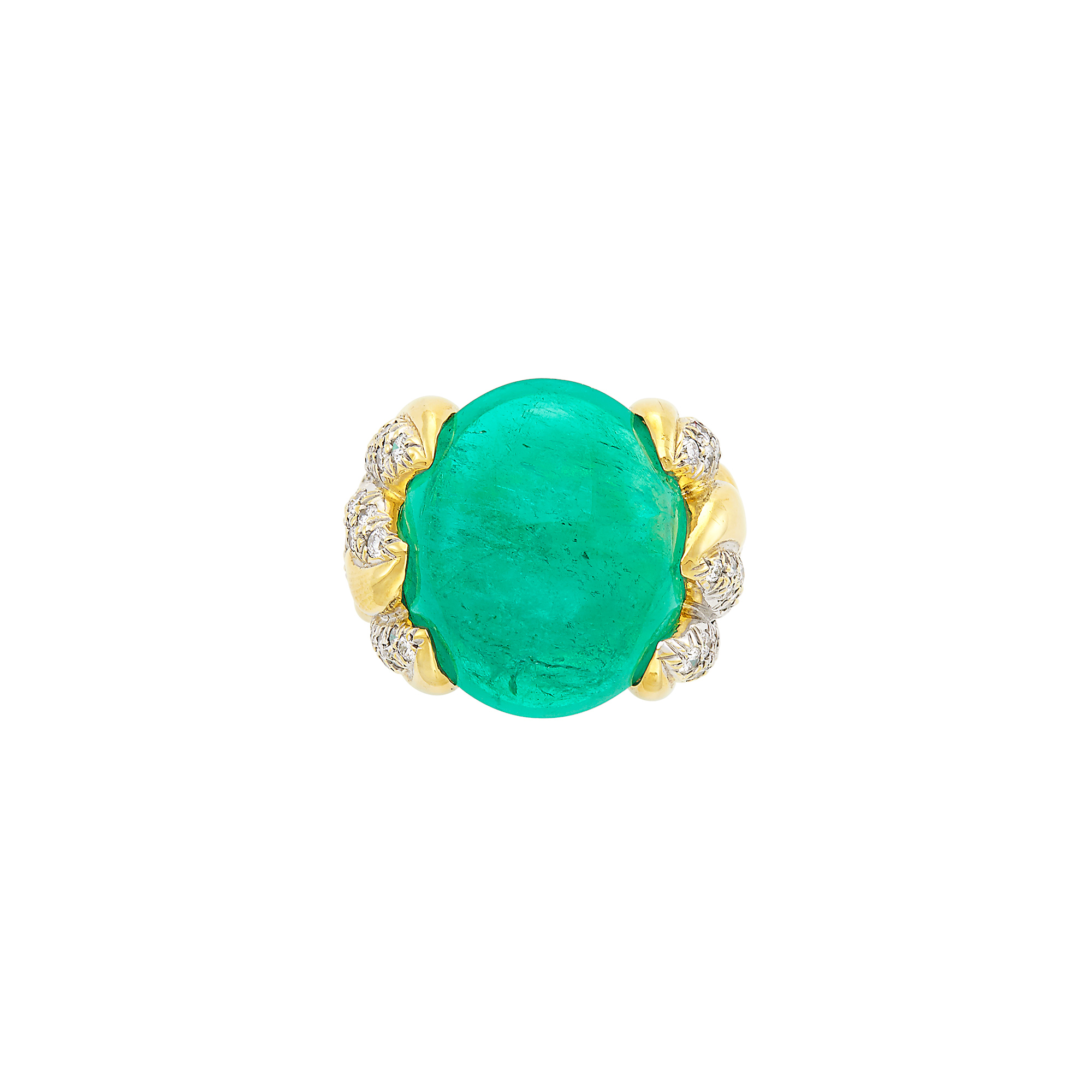 Lot image - Two-Color Gold, Cabochon Emerald and Diamond Ring, Marlene Stowe