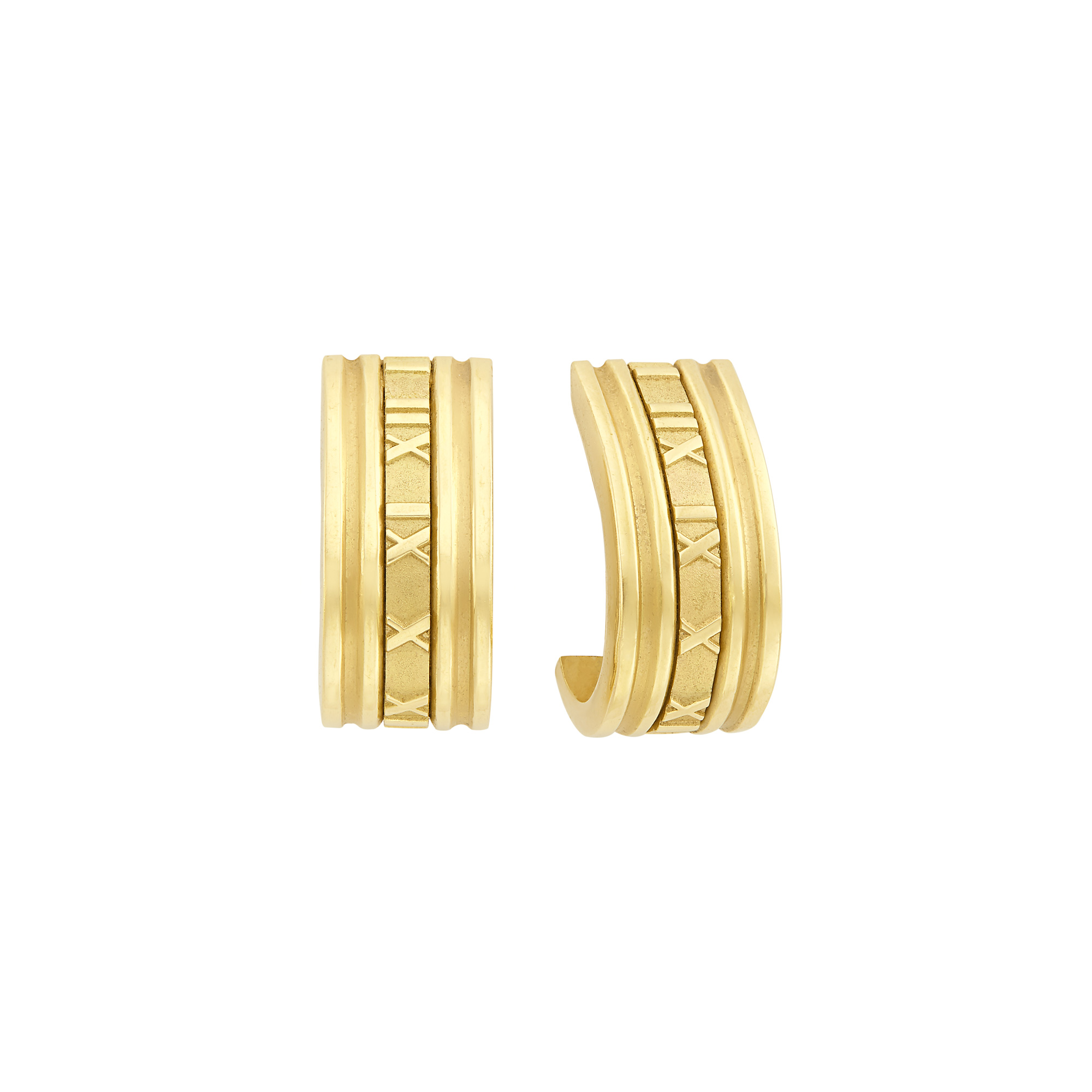 Lot image - Pair of Gold Atlas Hoop Earclips, Tiffany & Co.