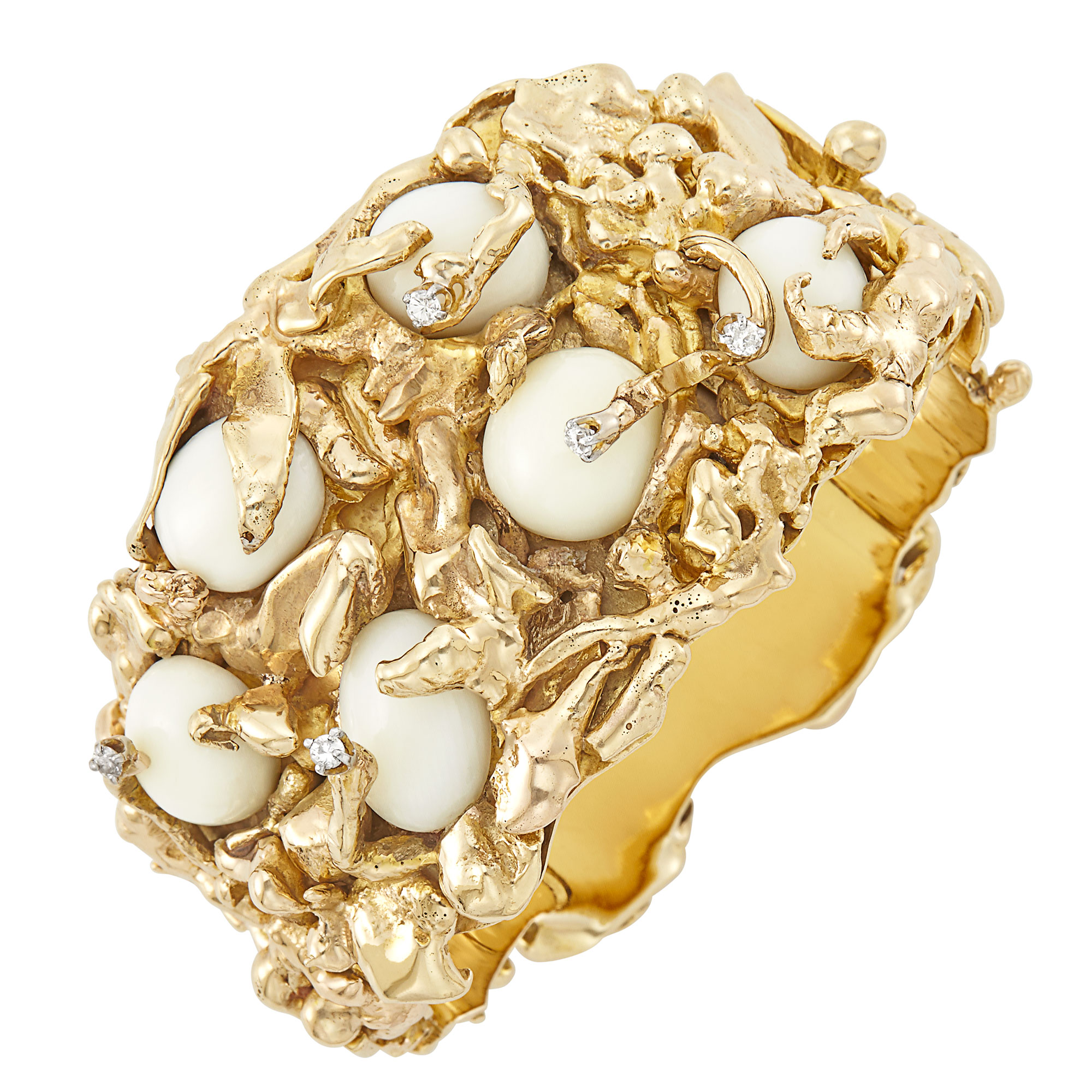 Lot image - Gold, White Coral and Diamond Cuff Bangle Bracelet