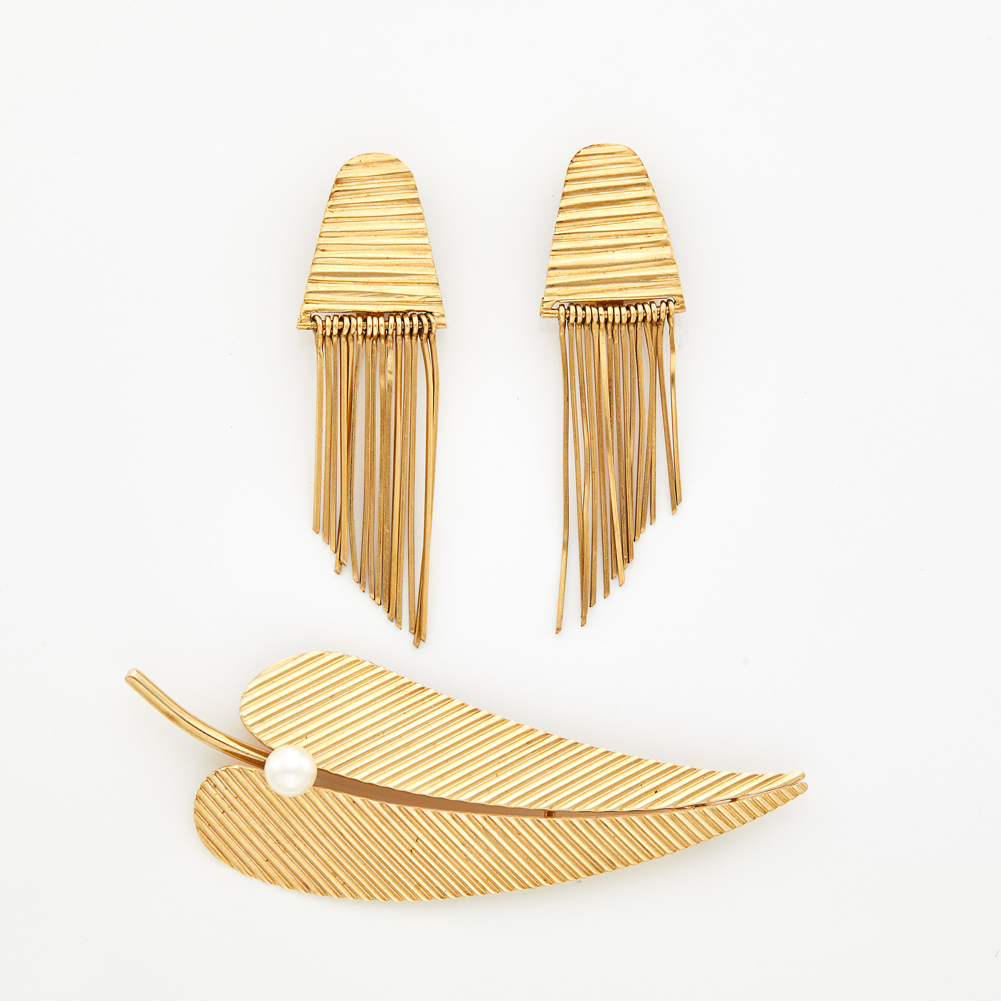 Lot image - Pair of Gold Fringe Earclips and Pearl Leaf Pin