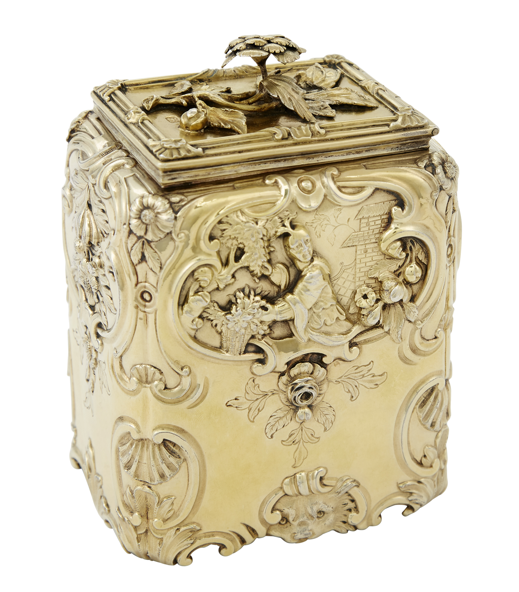 Lot image - George III Sterling Silver-Gilt Tea Caddy