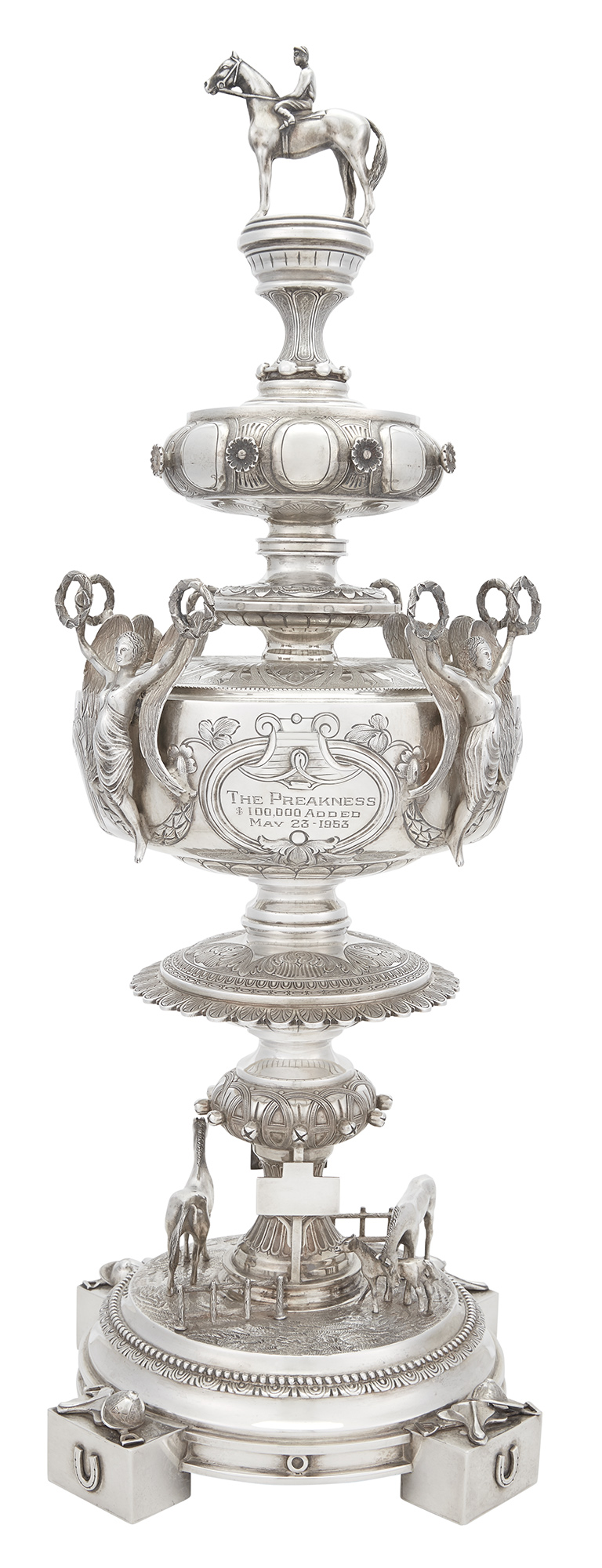 Lot image - Important American Sterling Silver Trophy Won by Alfred Gwynne Vanderbilt, Jrs Native Dancer in the 1953 Preakness Stakes