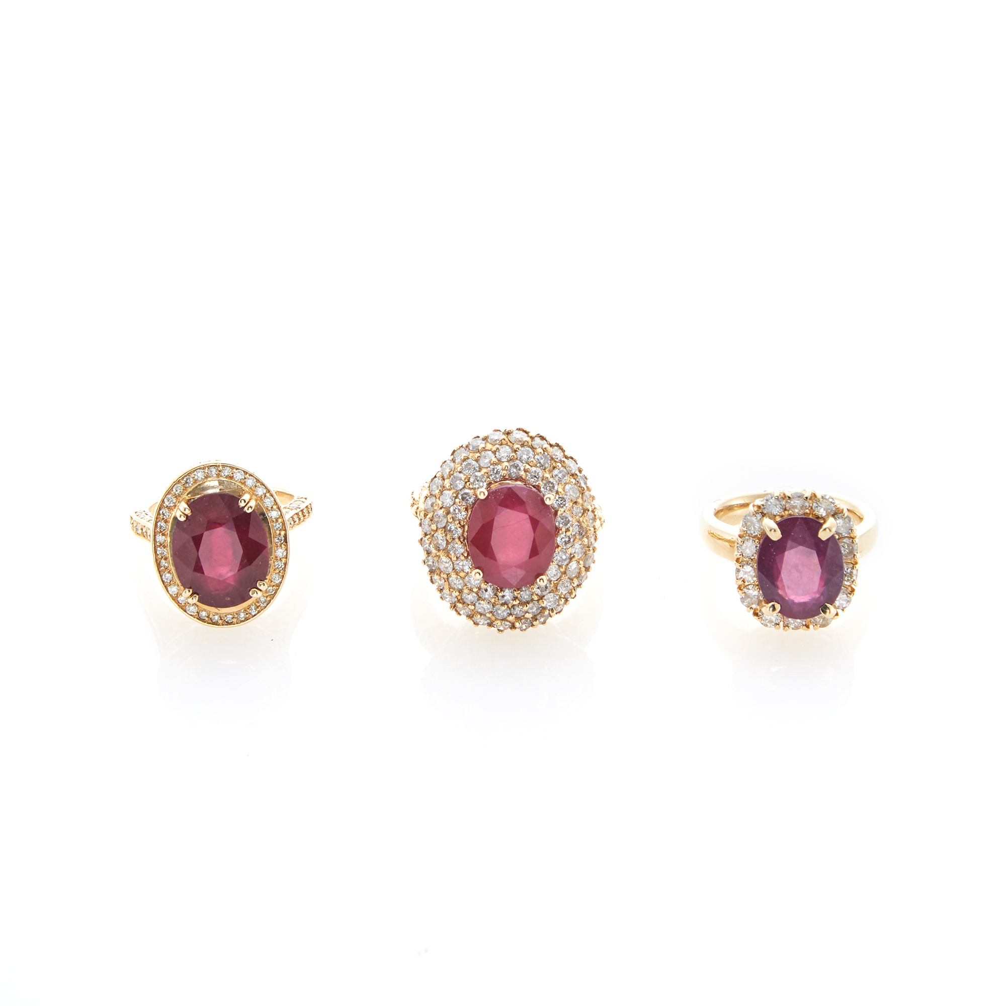 Lot image - Three Gold, Composite Ruby and Diamond Rings
