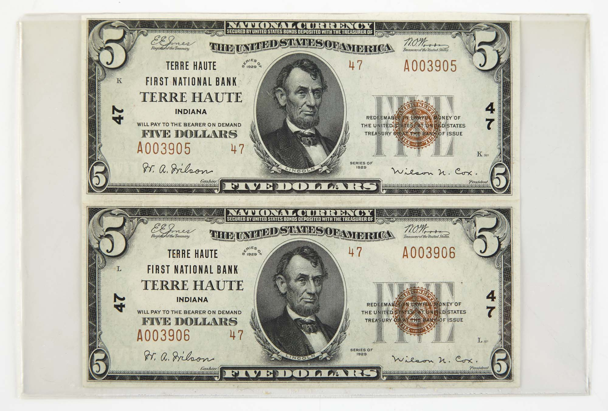 Lot image - United States National Currency 1929 Small $5 Pair Terre Haute Indiana