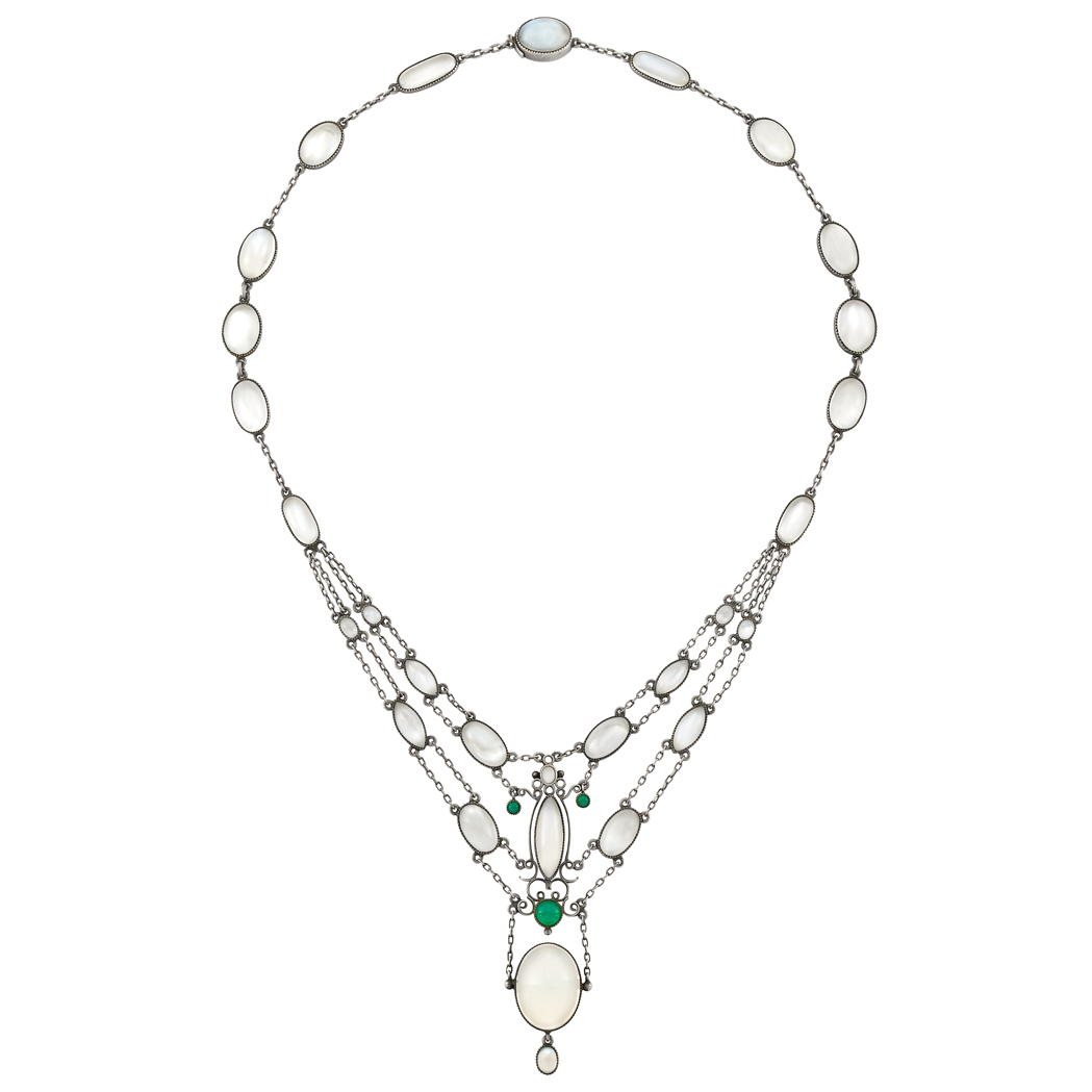 Lot image - Antique Silver, Opal, Moonstone and Chrysoprase Necklace