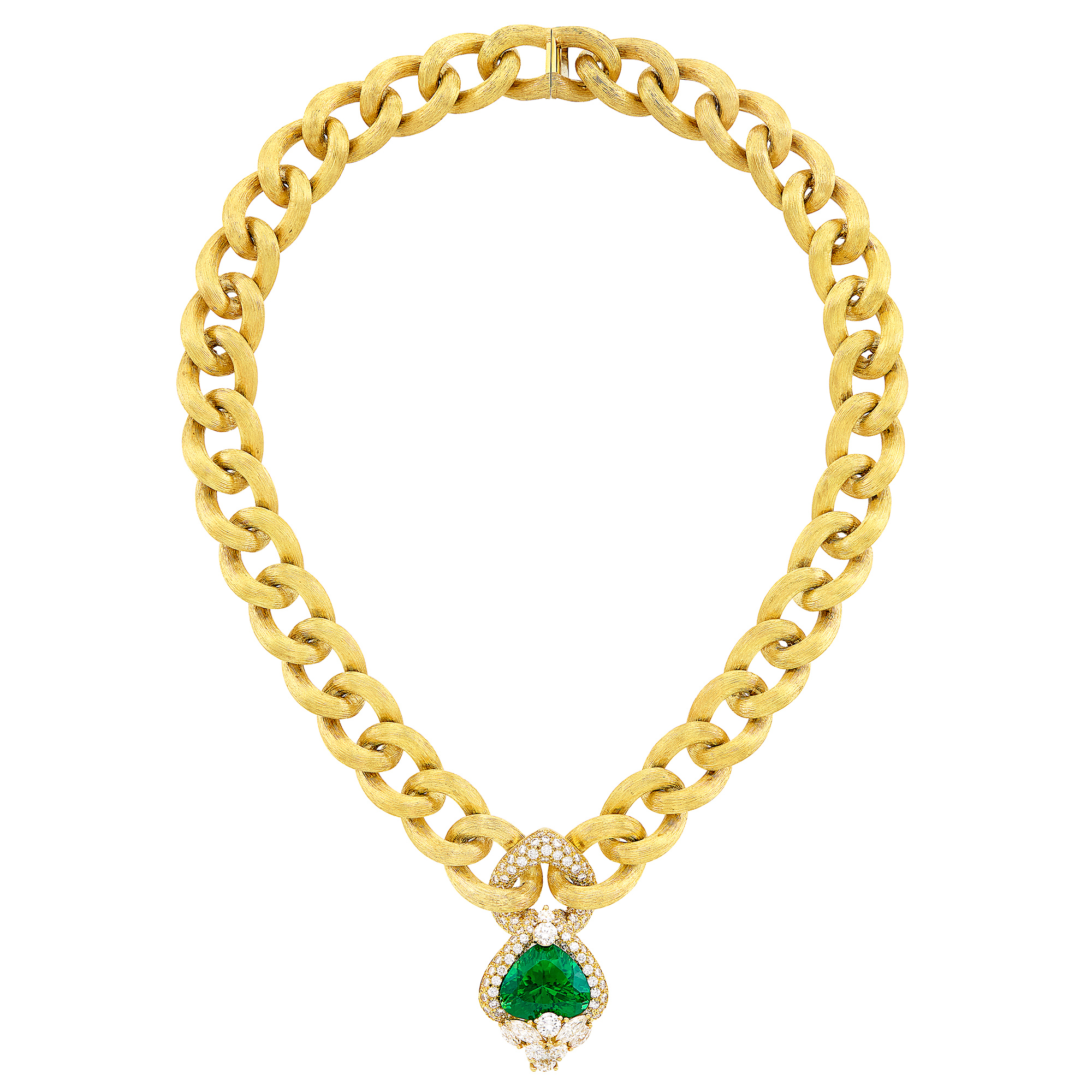 Lot image - Gold, Peridot and Diamond Curb Link Chain Necklace, Henry Dunay