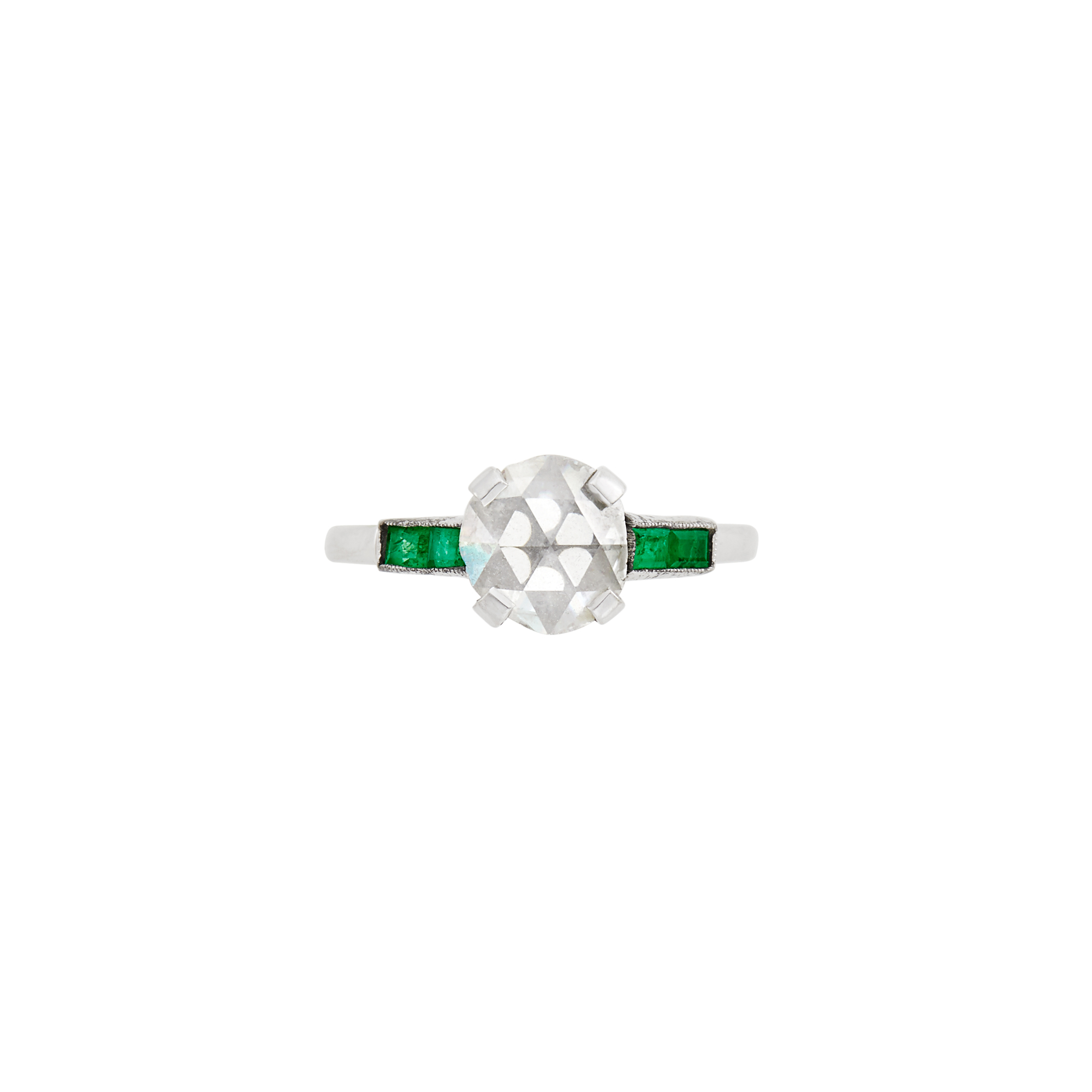 Lot image - White Gold, Diamond and Emerald Ring