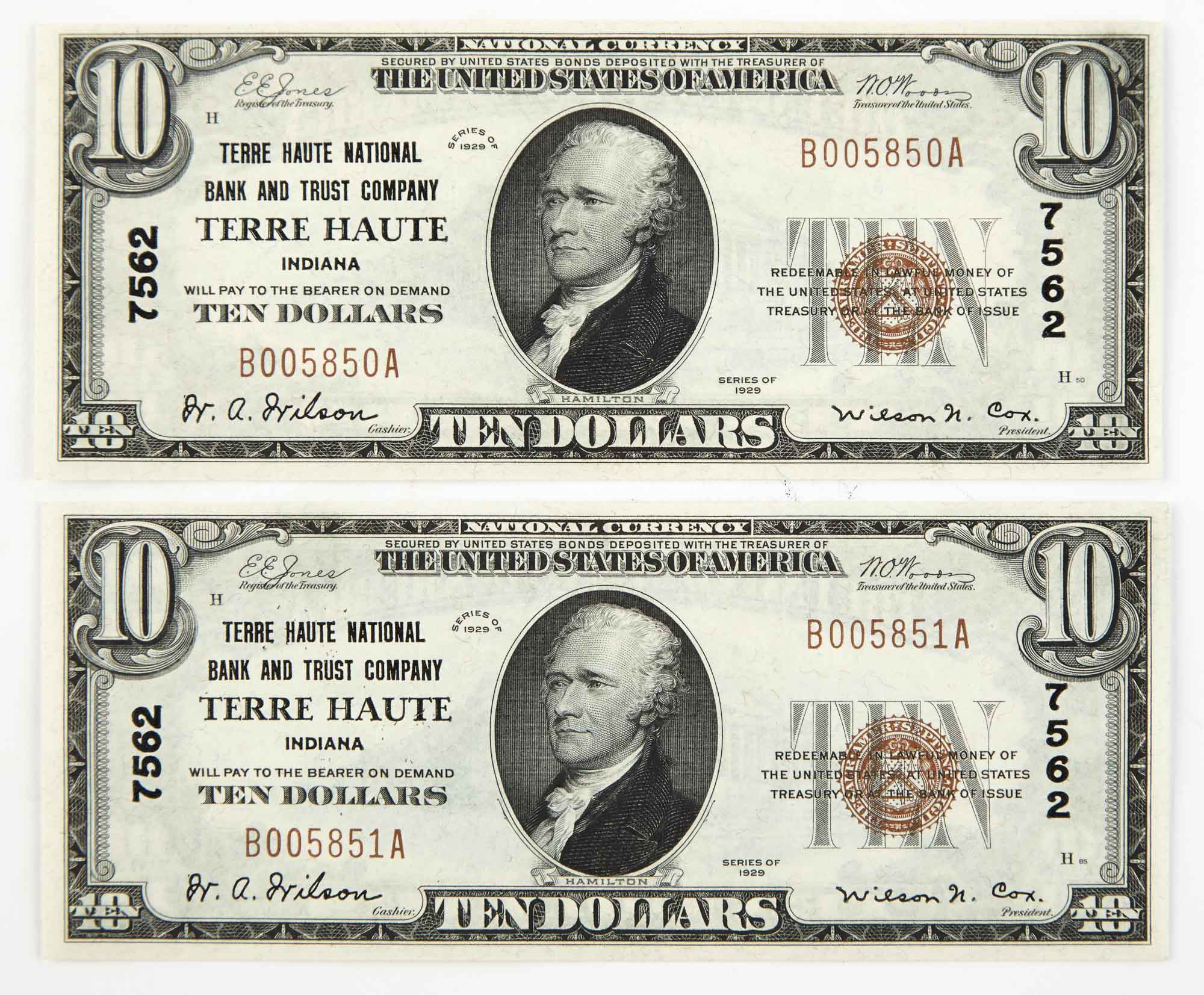 Lot image - United States National Currency 1929 Small $10 Pair Terre Haute Indiana