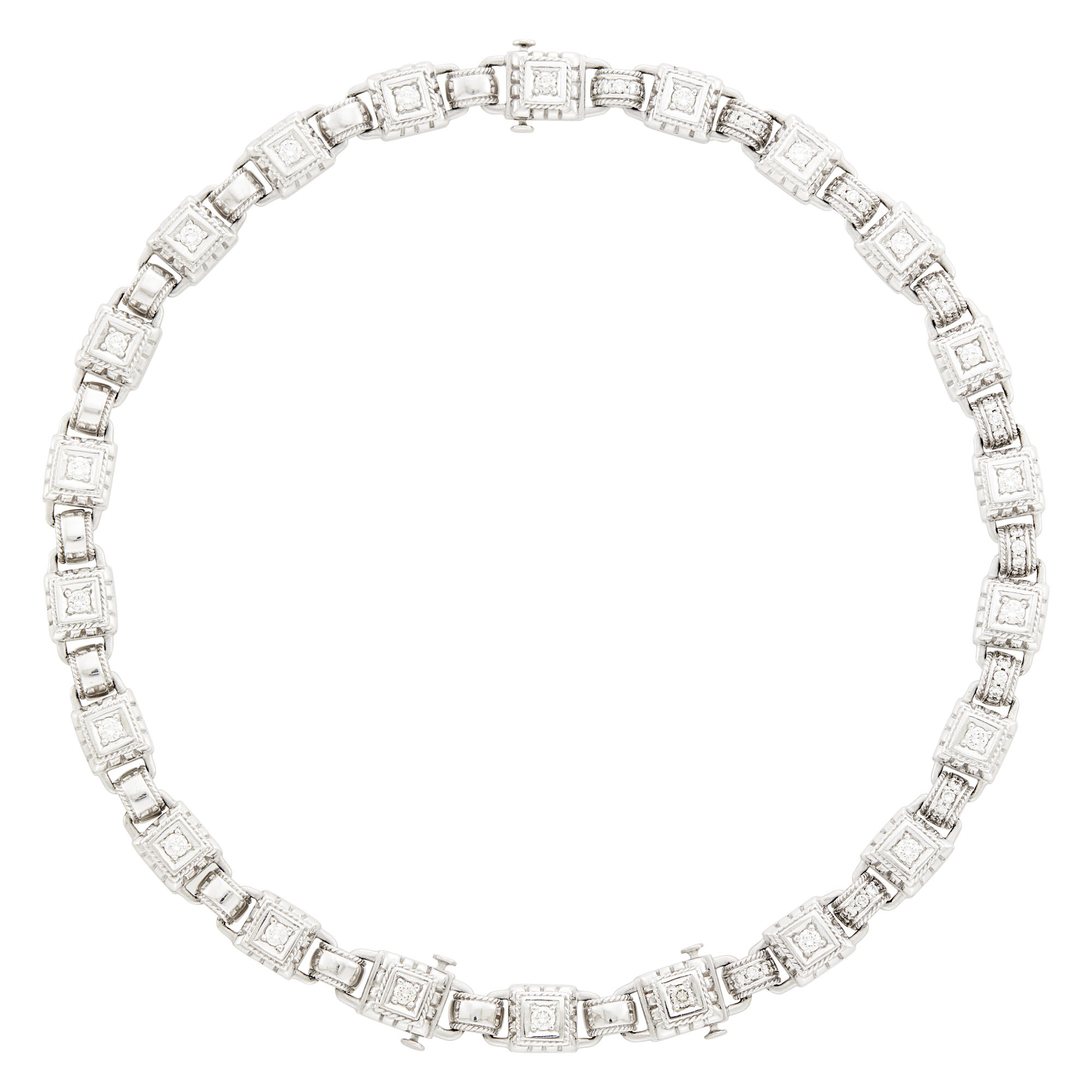 Lot image - White Gold and Diamond Necklace/Bracelet Combination