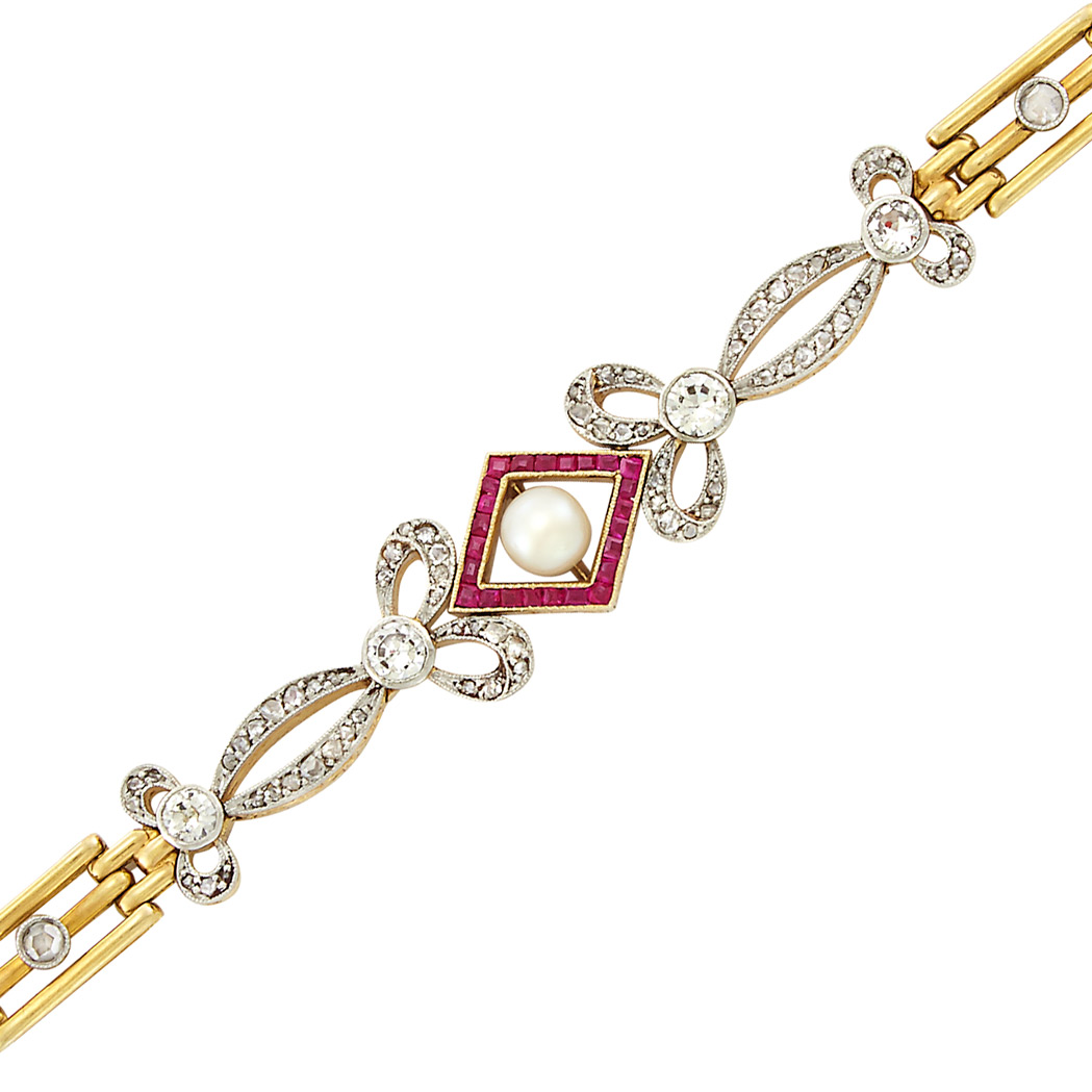 Lot image - Antique Gold, Platinum, Diamond, Ruby and Pearl Bracelet