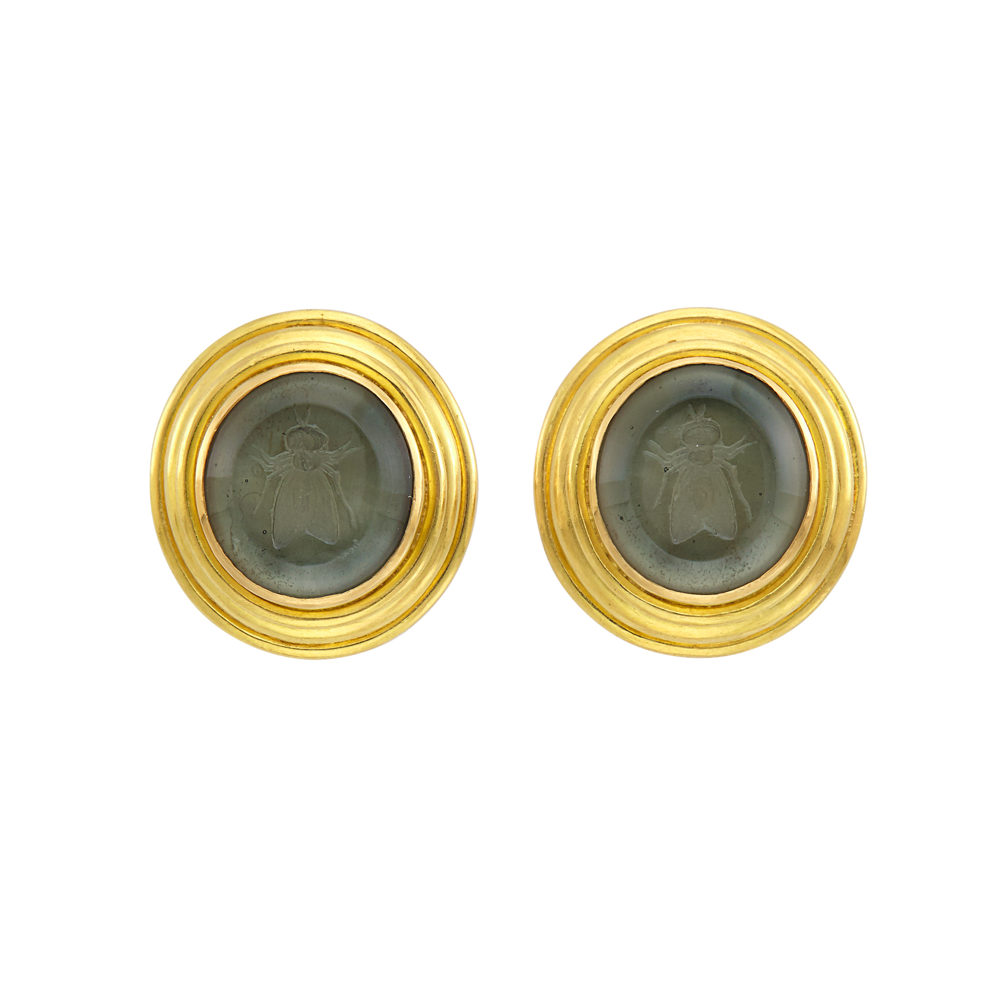 Lot image - Pair of Gold, Green Glass Intaglio and Mother-of-Pearl Earclips, Elizabeth Locke