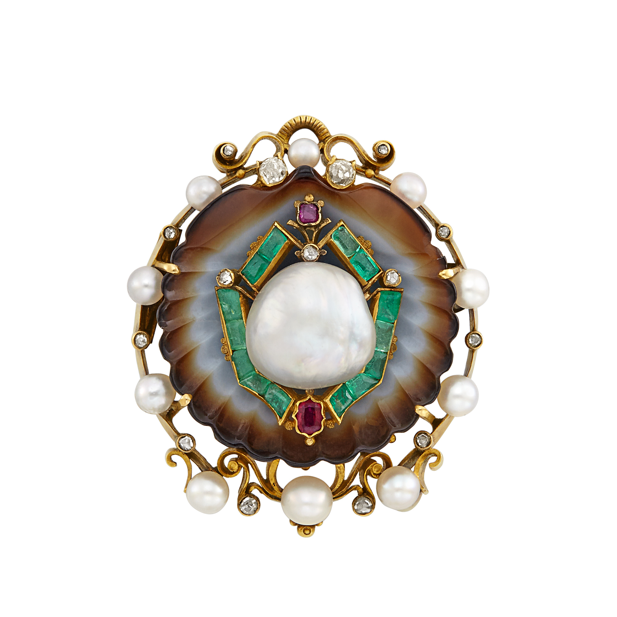 Lot image - Antique Gold, Carved Agate, Baroque Pearl, Ruby, Emerald and Diamond Brooch