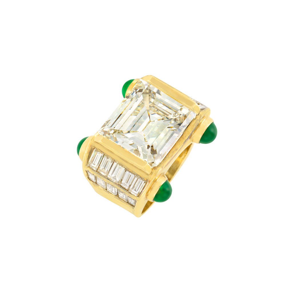Lot image - Gold, Diamond and Cabochon Emerald Ring
