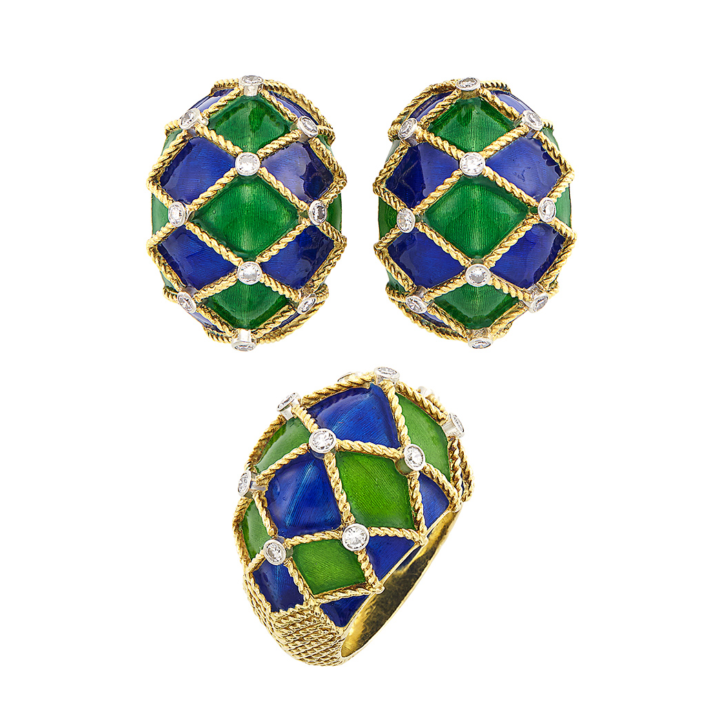 Lot image - Pair of Gold, Platinum, Enamel and Diamond Bombé Earrings and Ring, Mauboussin, Paris