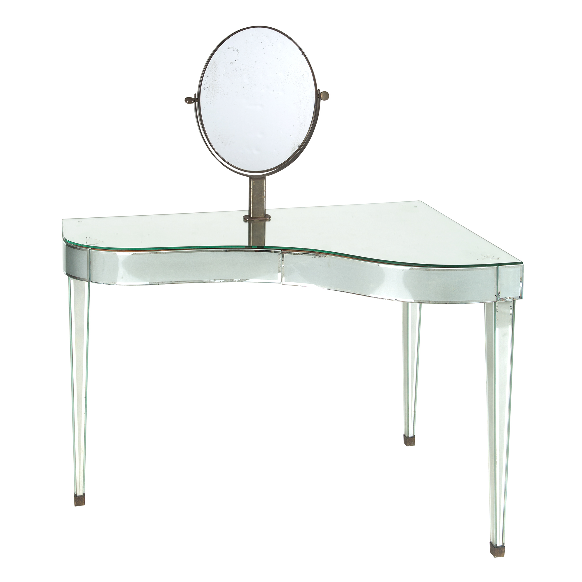 Lot image - Mid-Century Mirror-Veneered Piano-Form Dressing Table