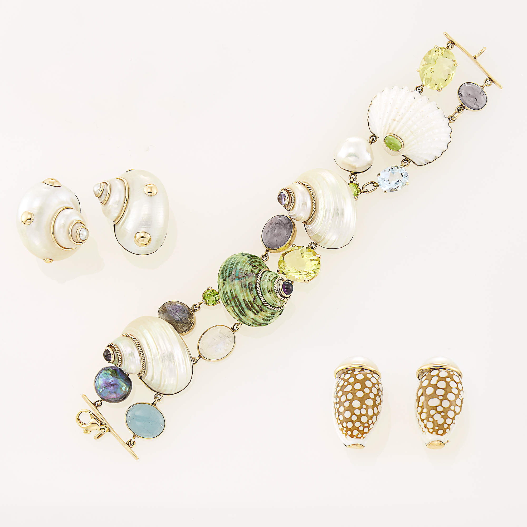 Lot image - Maz Gold, Colored Stone and Shell Bracelet and Two Pairs of Shell, Cultured and Mabé Pearl Earrings