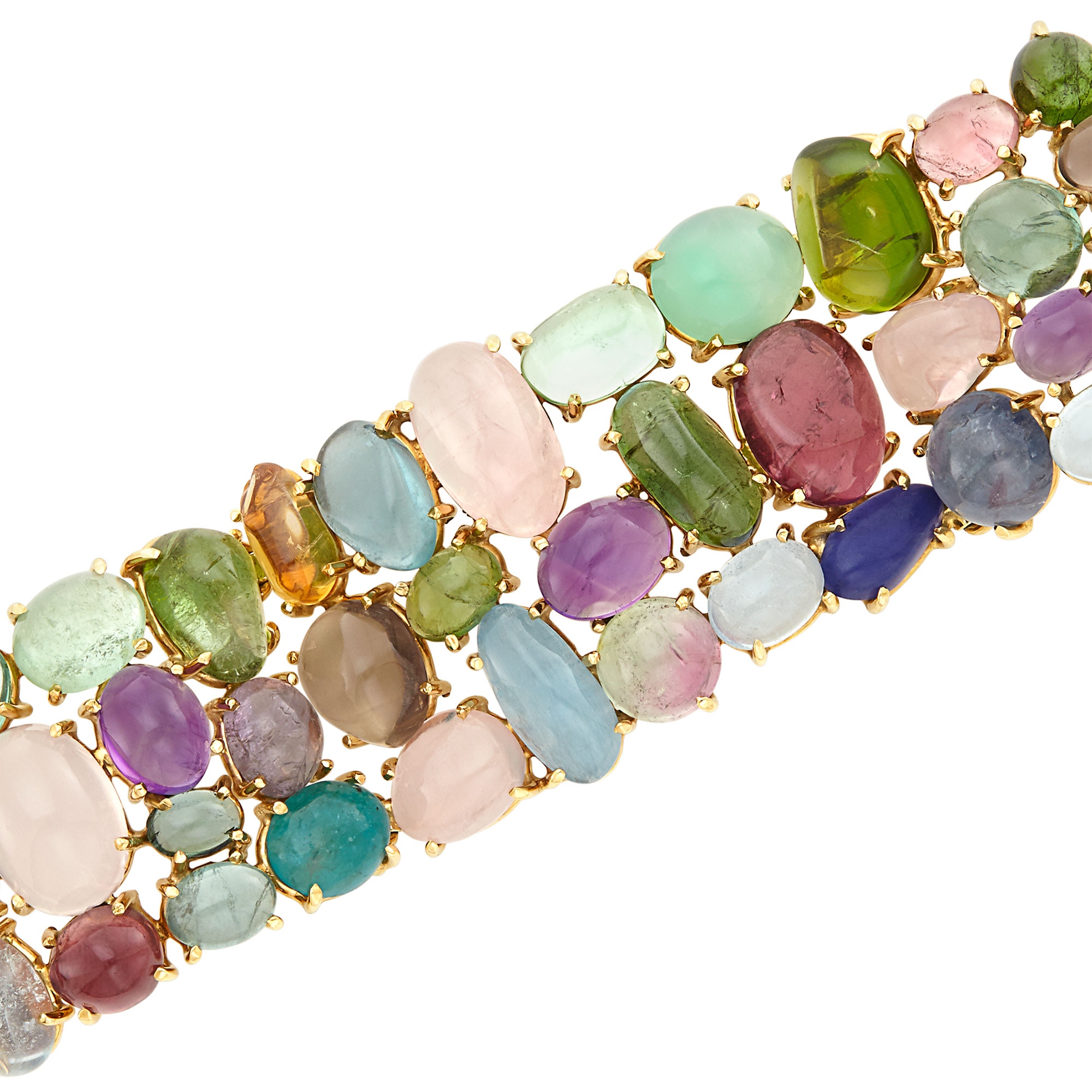Lot image - Gold and Cabochon Colored Stone Bracelet