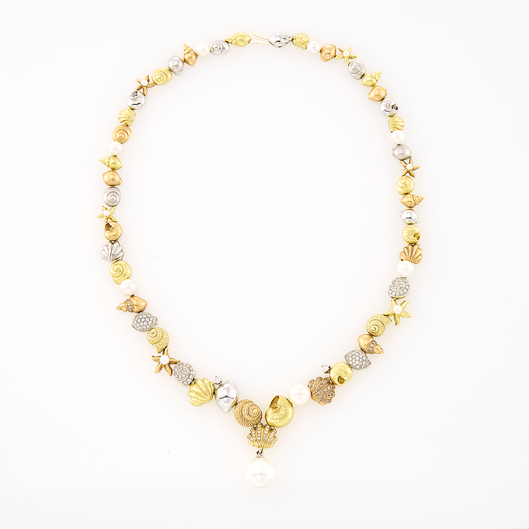 Lot image - Morelli Tricolor Gold, Diamond and Cultured Pearl Shell Necklace