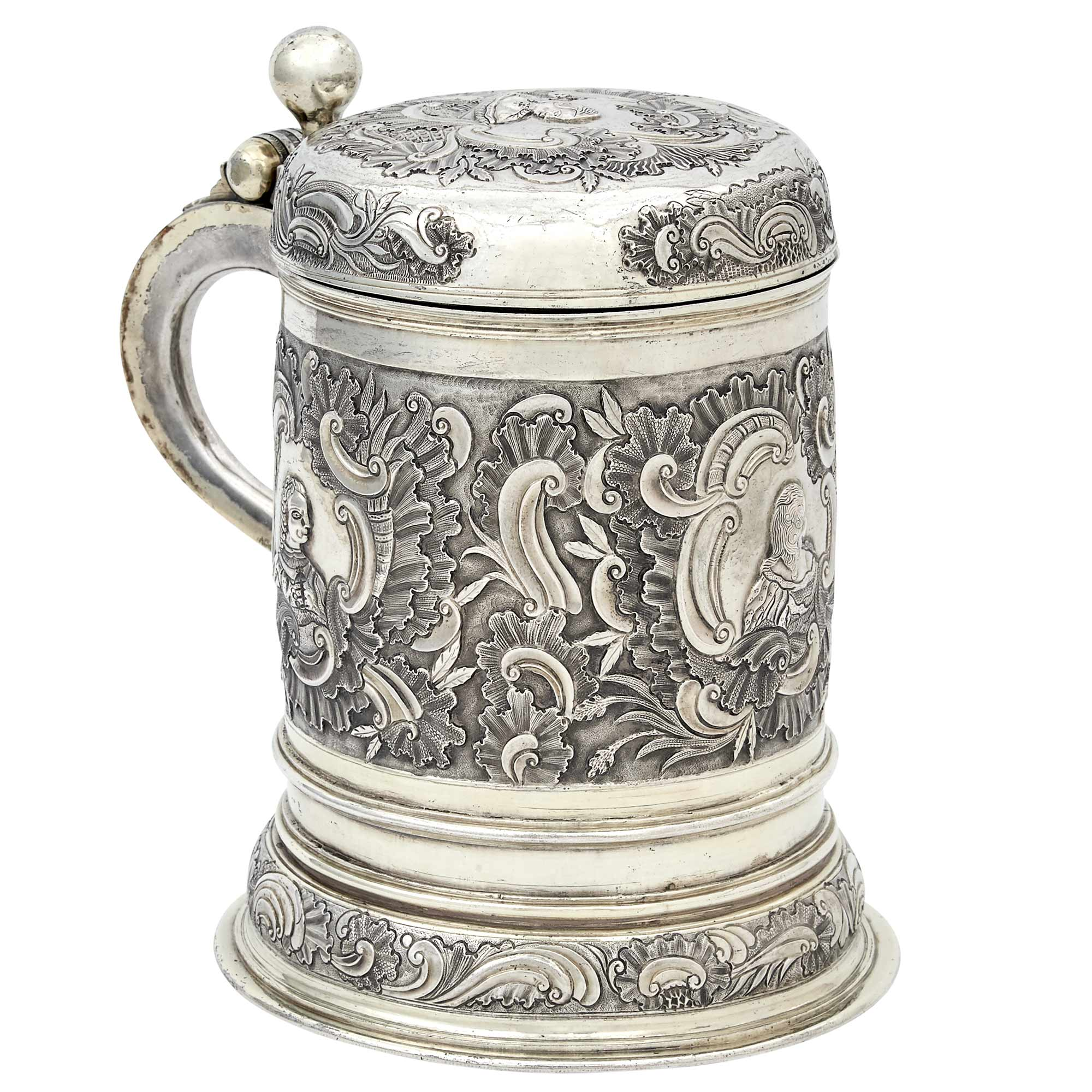 Lot image - German Silver Gilt Covered Tankard