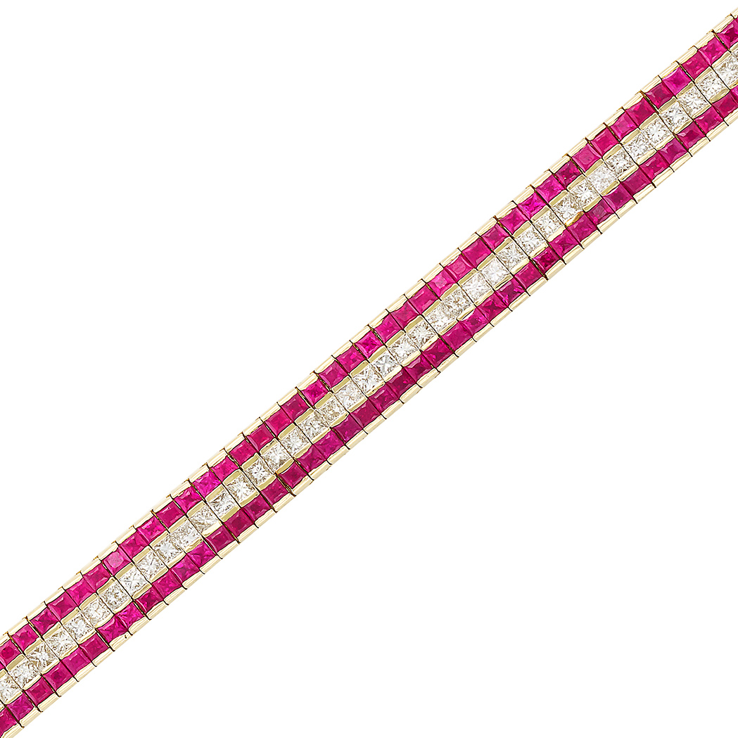Lot image - Gold, Ruby and Diamond Straightline Bracelet