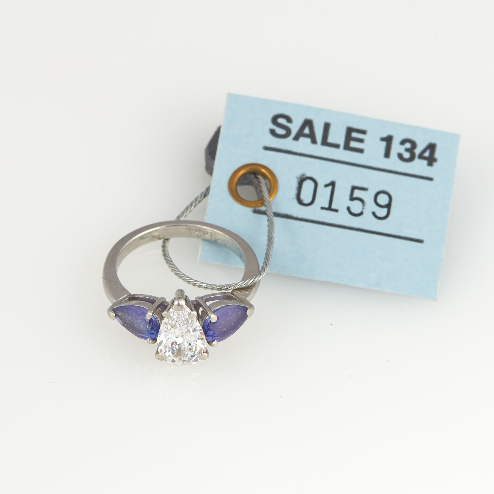 Lot image - Diamond and Stone Ring about 1.30 cts., Platinum 3 dwt. all, stone damaged