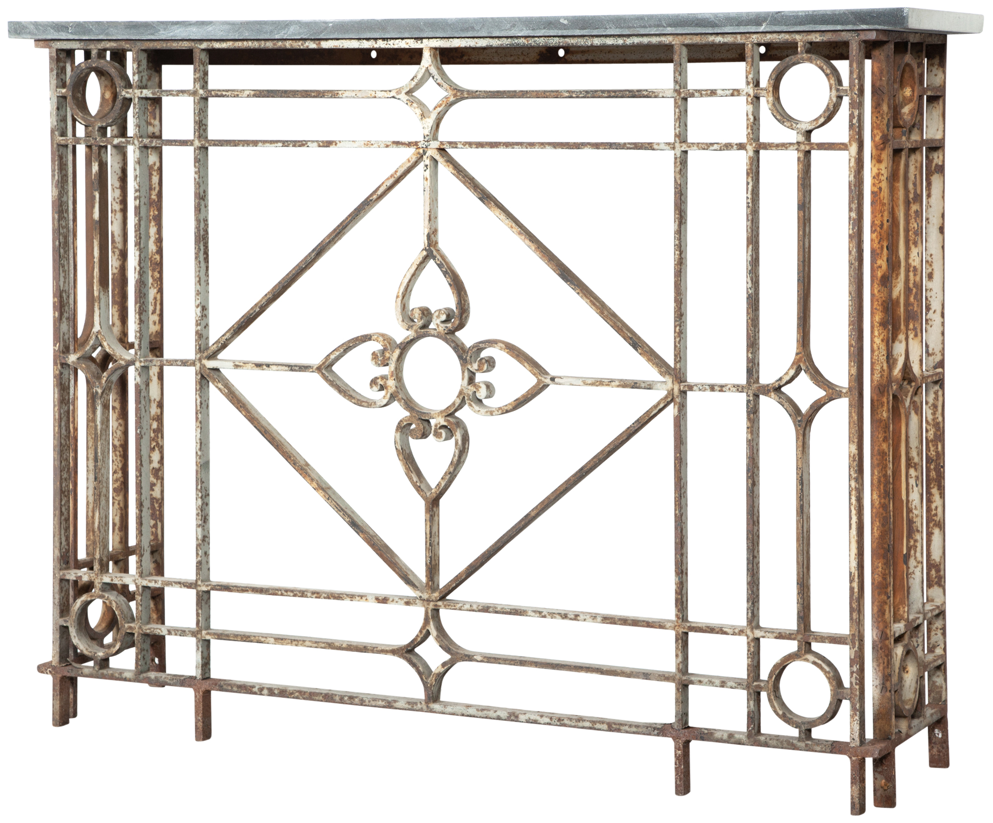 Lot image - Neoclassical Style Painted Wrought-Iron Console with Slate Top