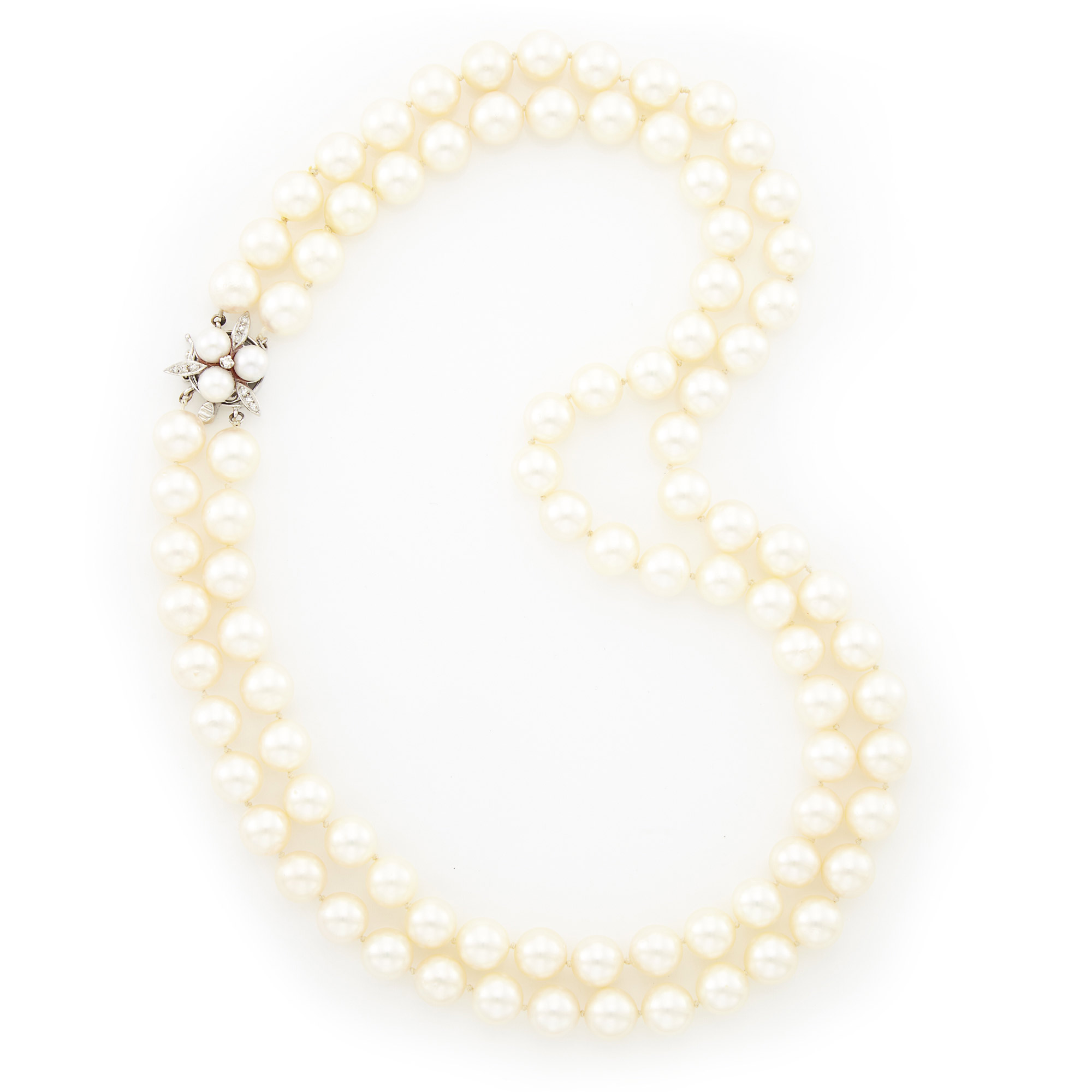 Lot image - Double Strand Cultured Pearl Necklace with White Gold, Cultured Pearl and Diamond Clasp