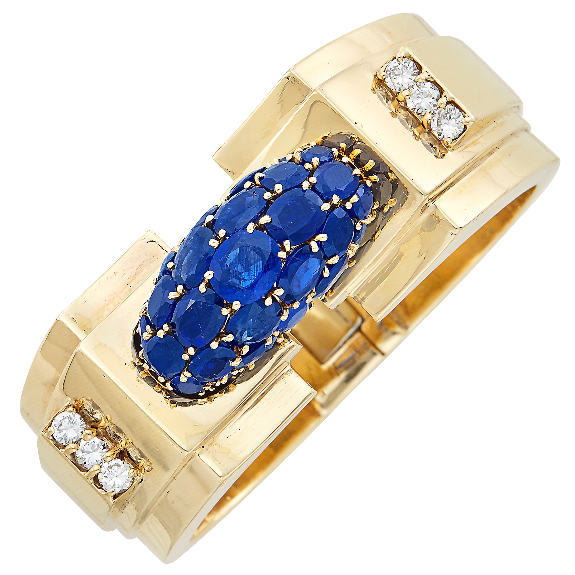 Lot image - Gold, Sapphire and Diamond Bombé Bangle Bracelet, Trabert & Hoeffer, Mauboussin, Reflections