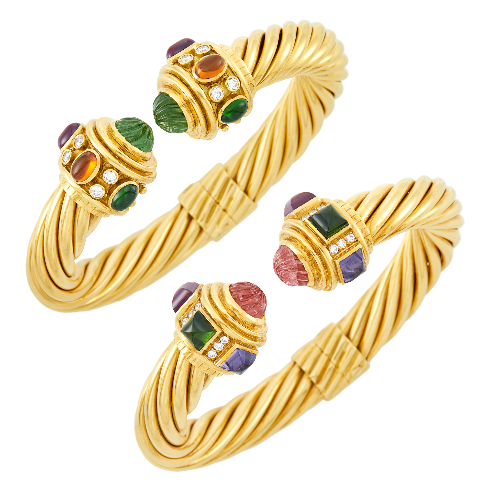Lot image - Pair of Gold, Fluted Pink and Green Tourmaline and Cabochon Gem-Set and Diamond Bangle Bracelets