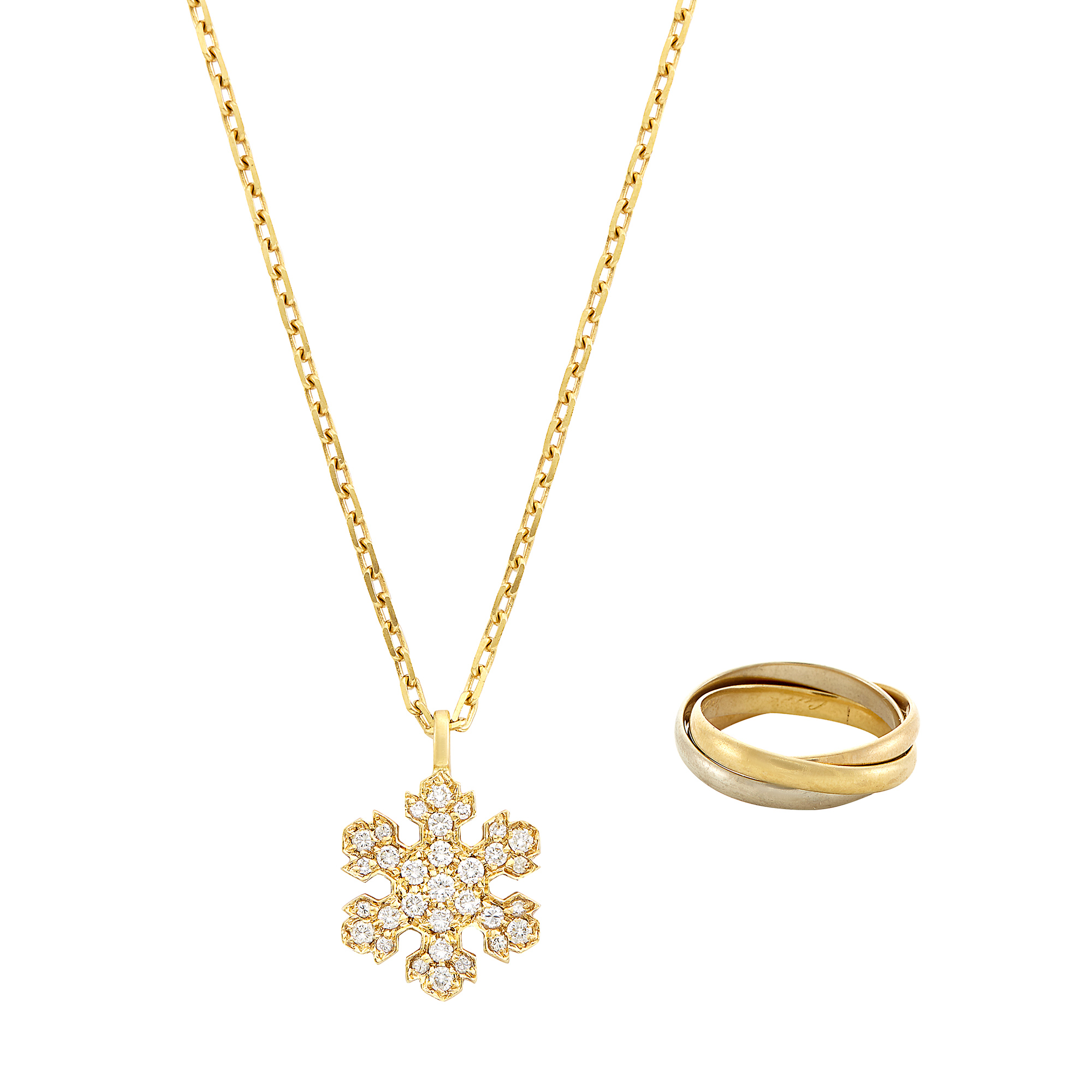 Lot image - Tricolor Gold Rolling Band Ring, Cartier, and Gold and Diamond Snowflake Pendant-Necklace, Bulgari
