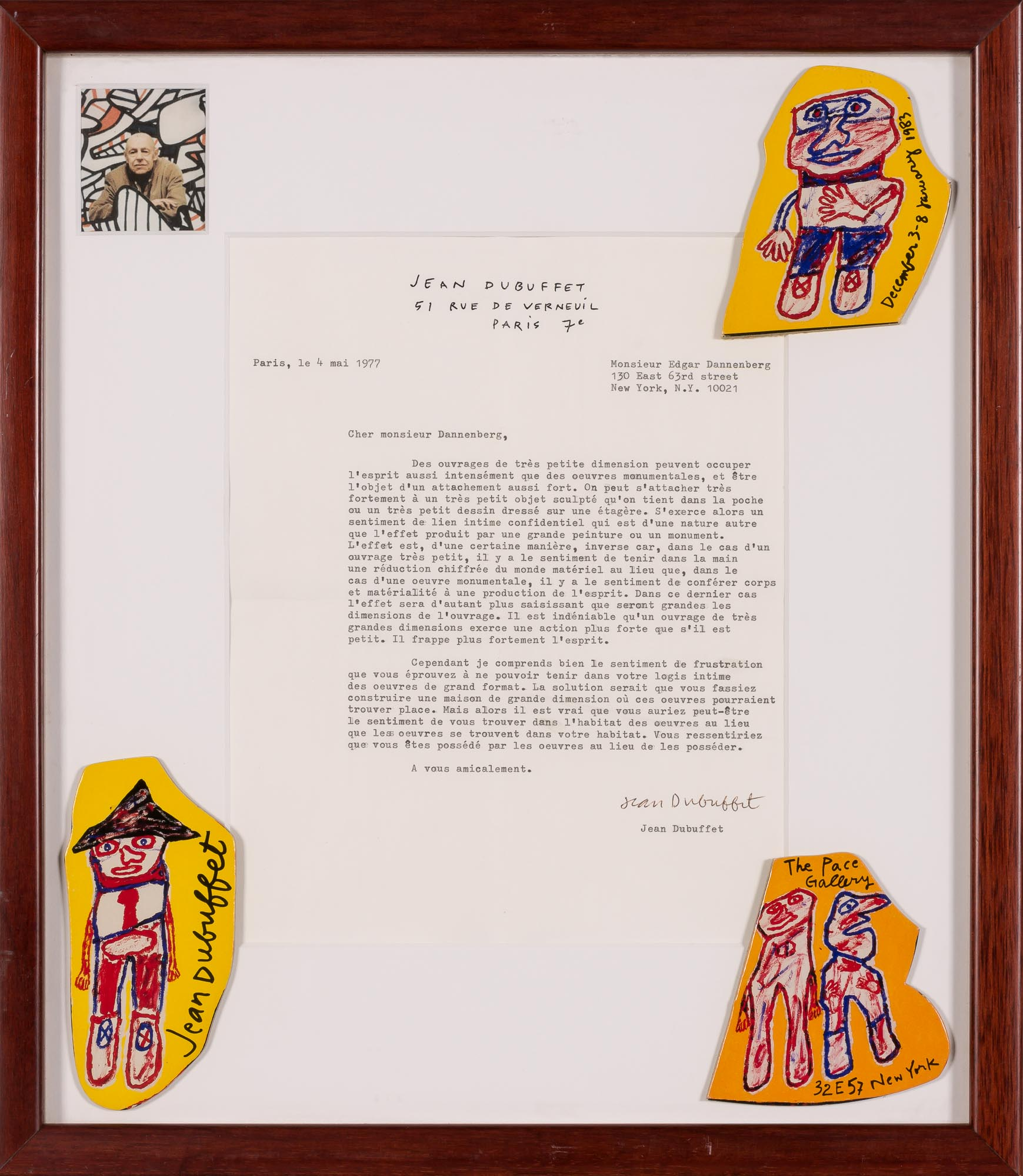 Lot image - DUBUFFET, JEAN  Typed letter signed.