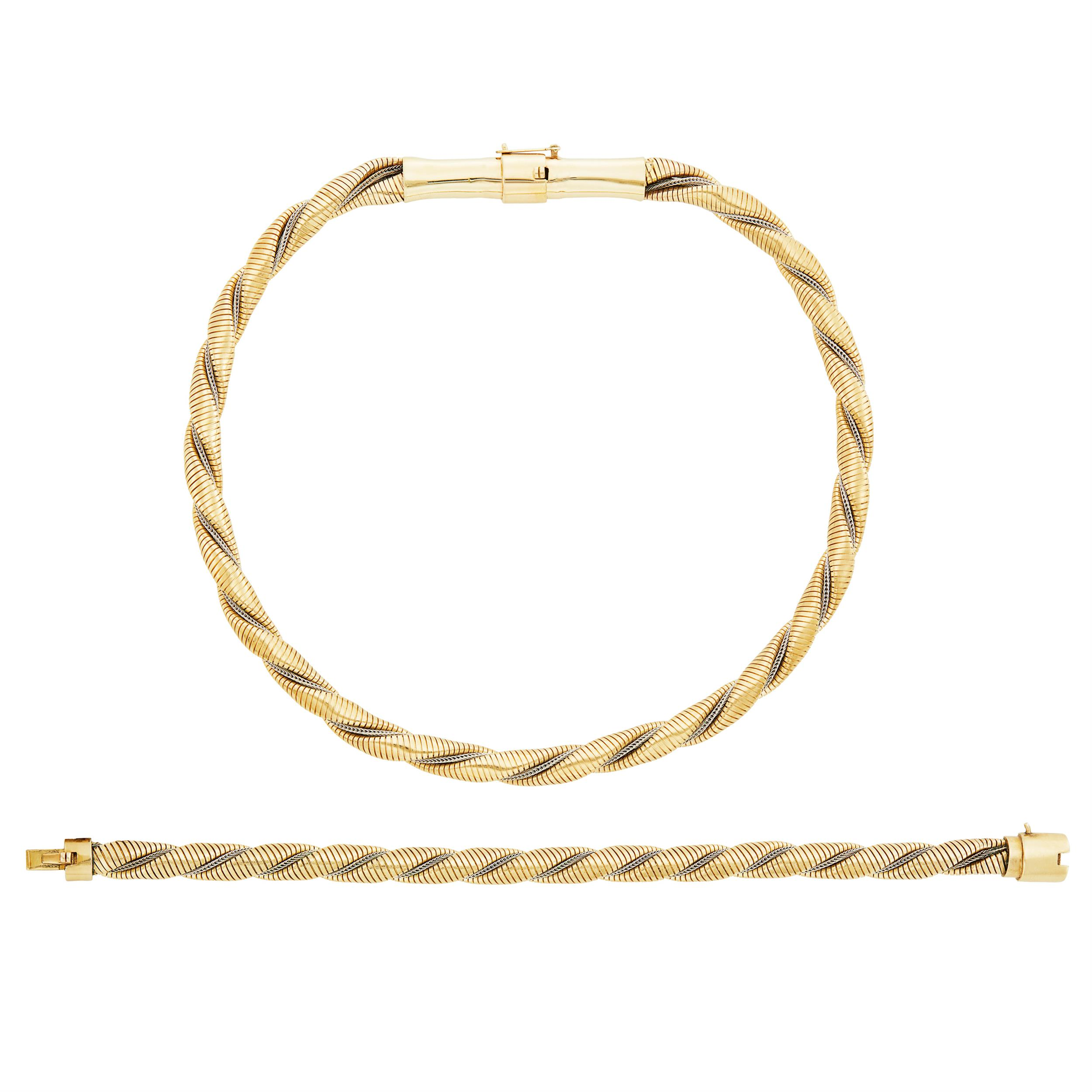 Lot image - Twisted Two-Color Gold Snake Link Necklace and Bracelet