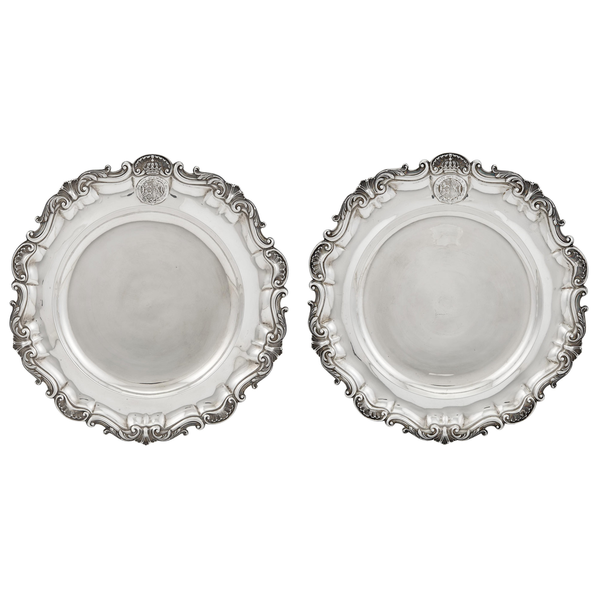 Lot image - Pair of Victorian Sterling Silver Dinner Plates from the Duke of Brunswick Service