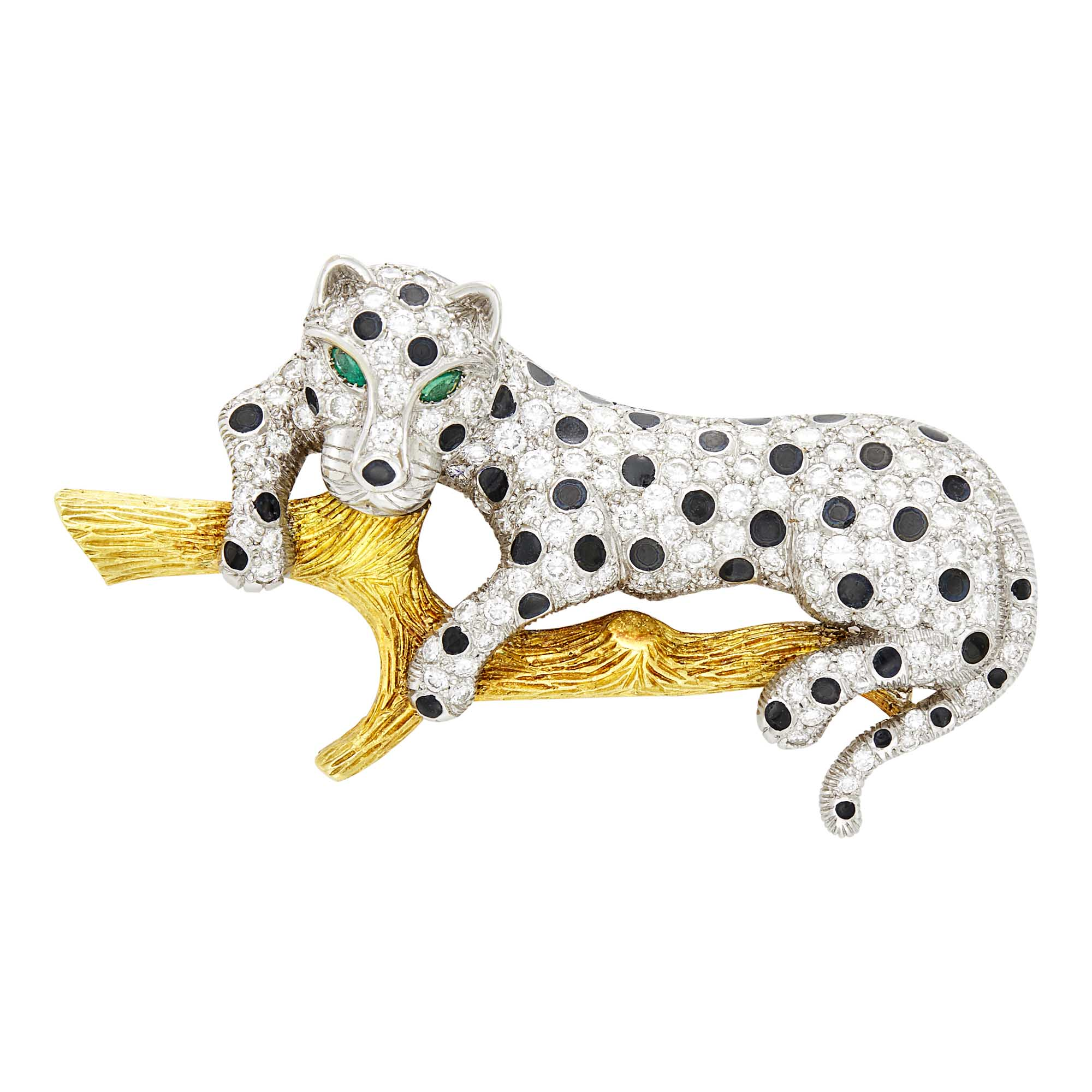 Lot image - Two-Color Gold, Diamond, Black Enamel and Emerald Leopard Pin