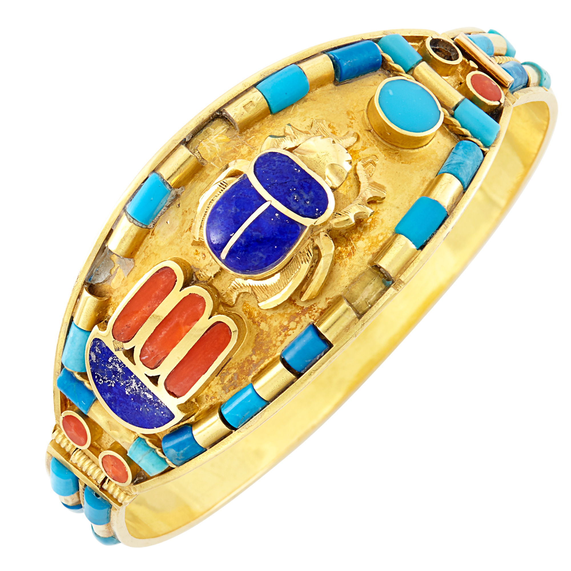 Lot image - Gold and Hardstone Bangle Bracelet